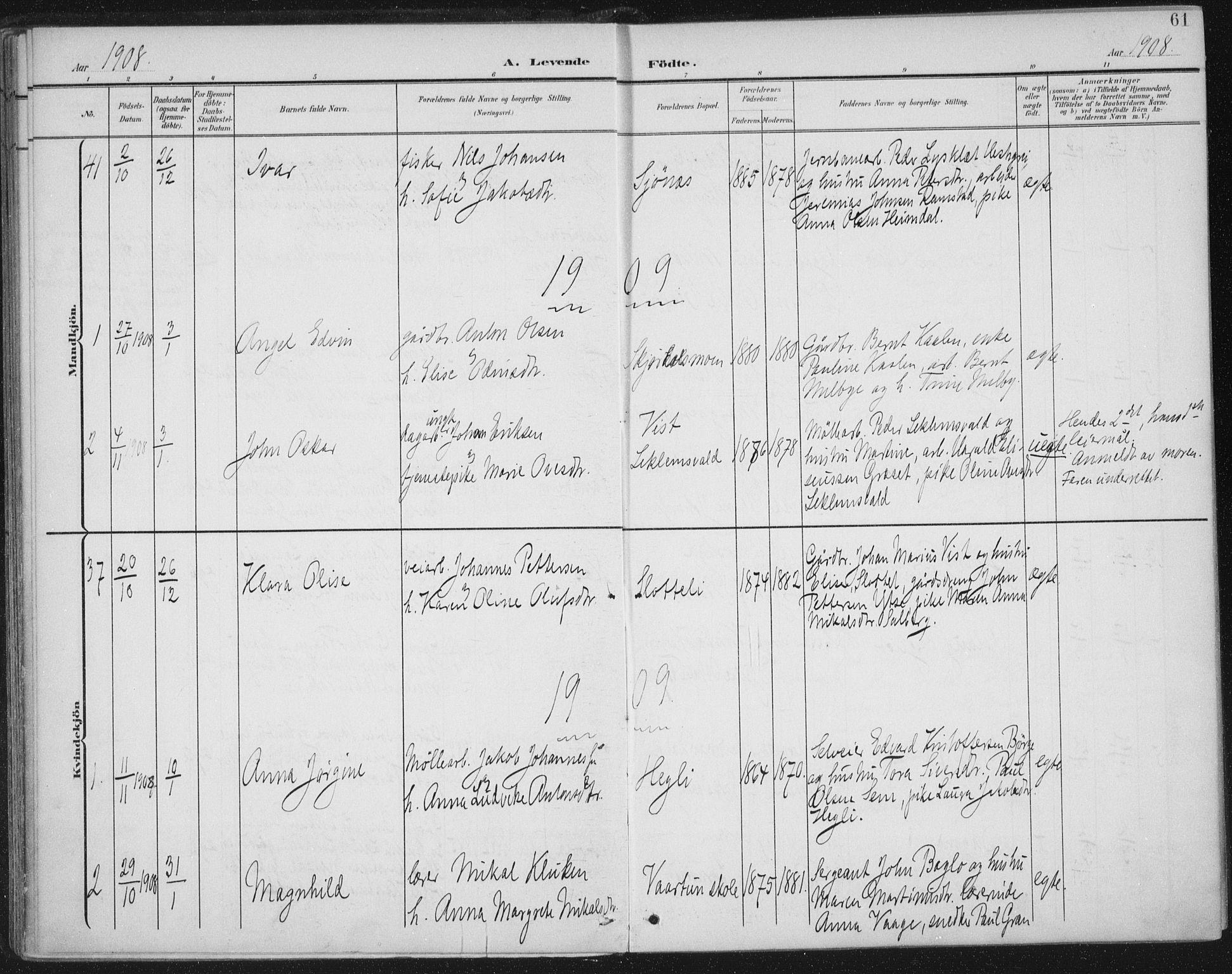 SAT, Ministerialprotokoller, klokkerbøker og fødselsregistre - Nord-Trøndelag, 723/L0246: Ministerialbok nr. 723A15, 1900-1917, s. 61