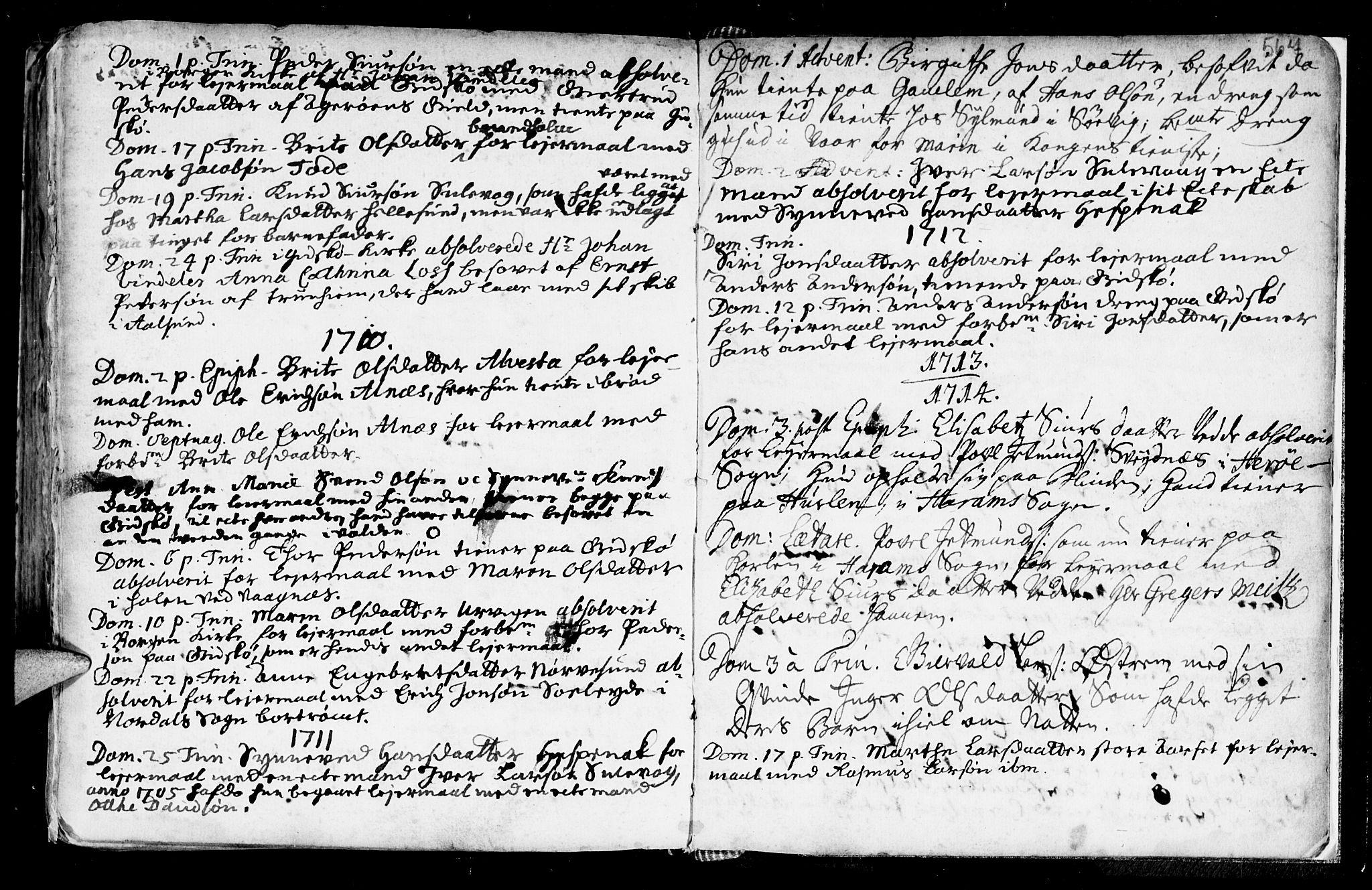 SAT, Ministerialprotokoller, klokkerbøker og fødselsregistre - Møre og Romsdal, 528/L0390: Ministerialbok nr. 528A01, 1698-1739, s. 566-567