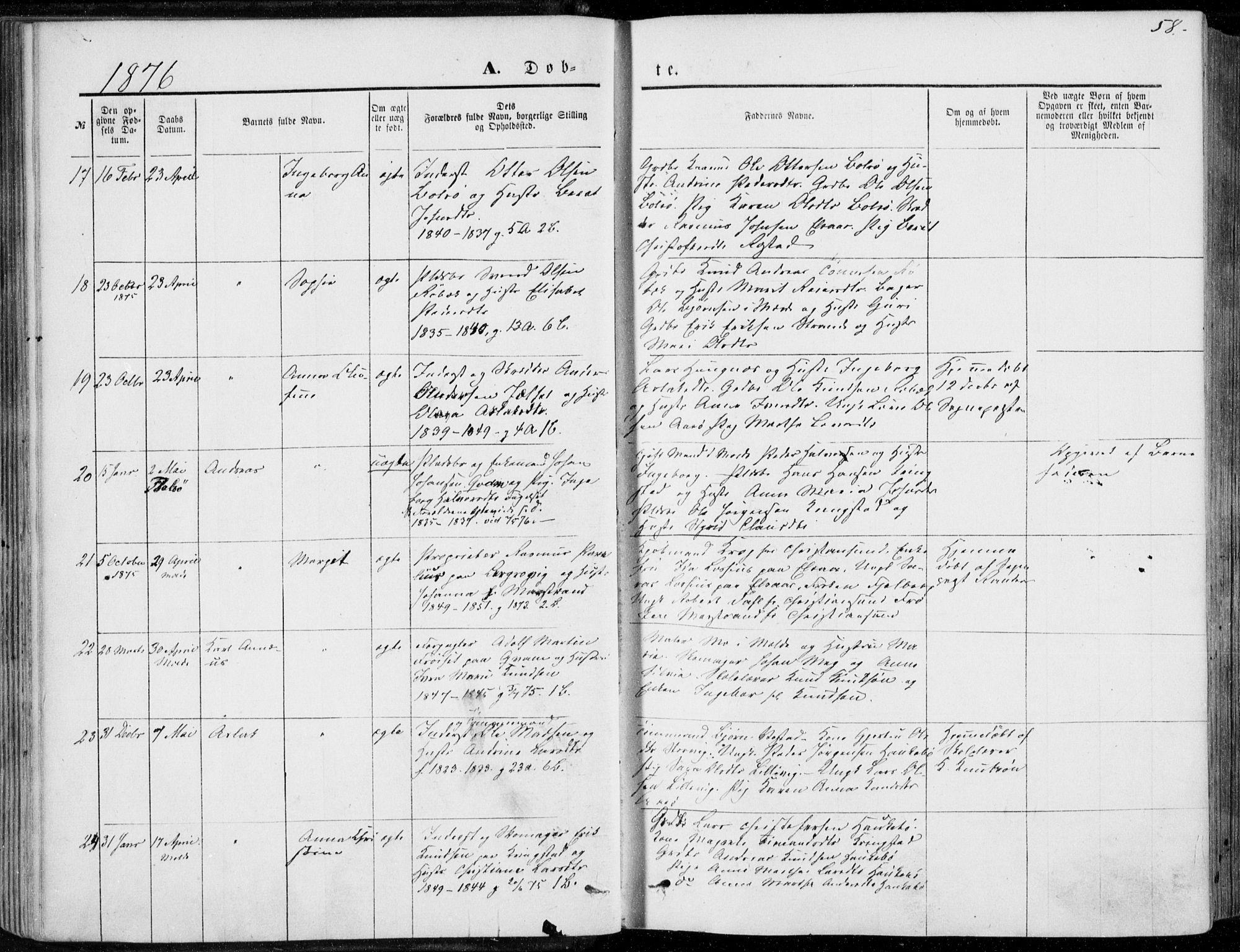 SAT, Ministerialprotokoller, klokkerbøker og fødselsregistre - Møre og Romsdal, 555/L0655: Ministerialbok nr. 555A05, 1869-1886, s. 58