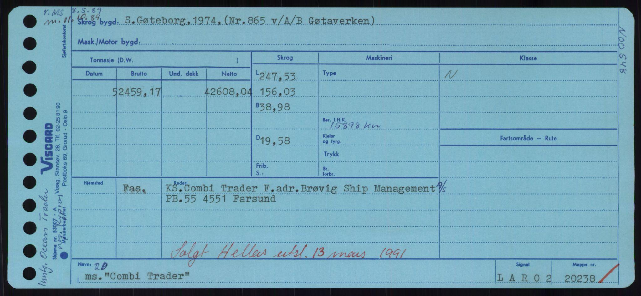 RA, Sjøfartsdirektoratet med forløpere, Skipsmålingen, H/Hd/L0008: Fartøy, C-D, s. 123