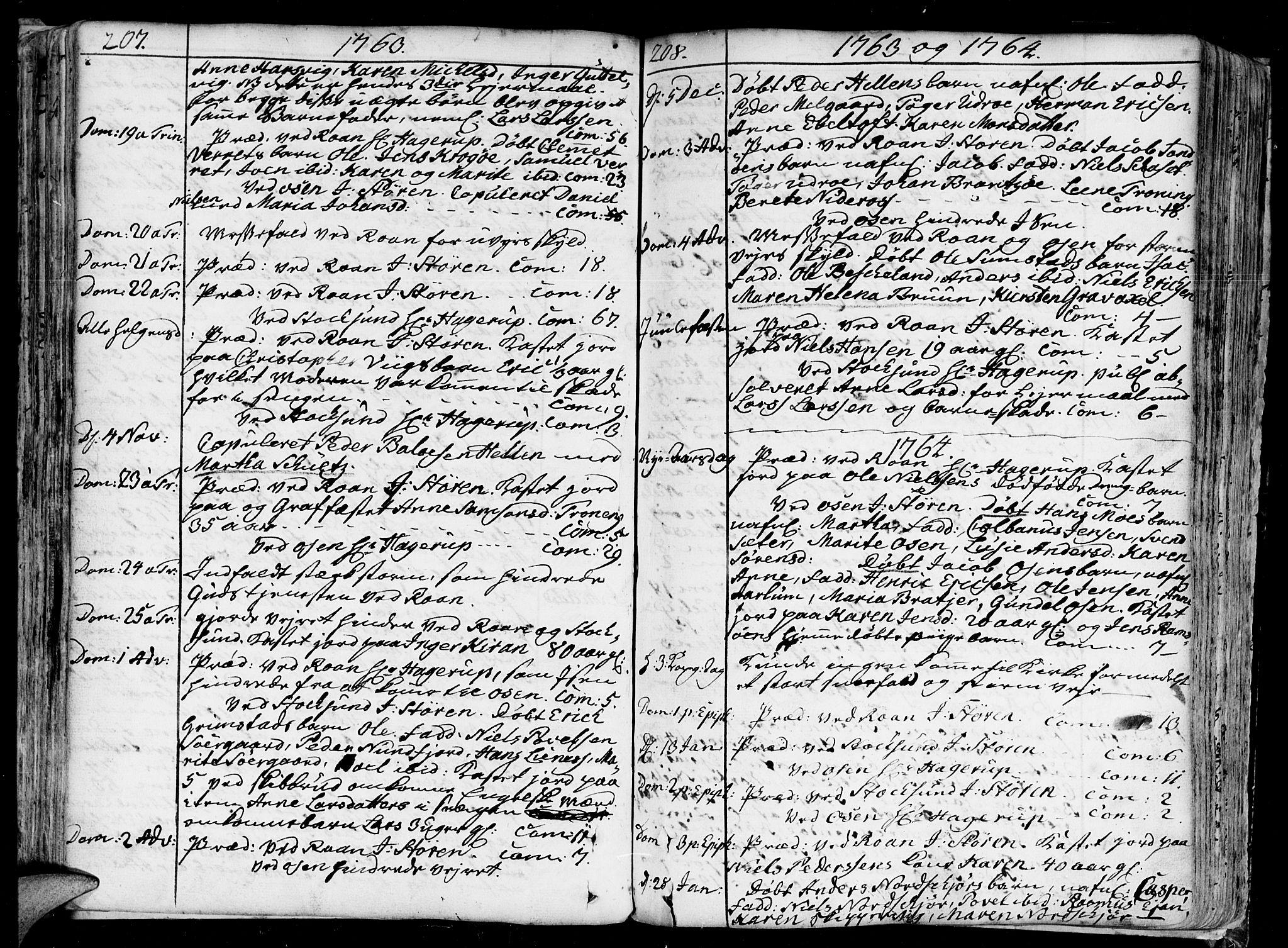 SAT, Ministerialprotokoller, klokkerbøker og fødselsregistre - Sør-Trøndelag, 657/L0700: Ministerialbok nr. 657A01, 1732-1801, s. 207-208