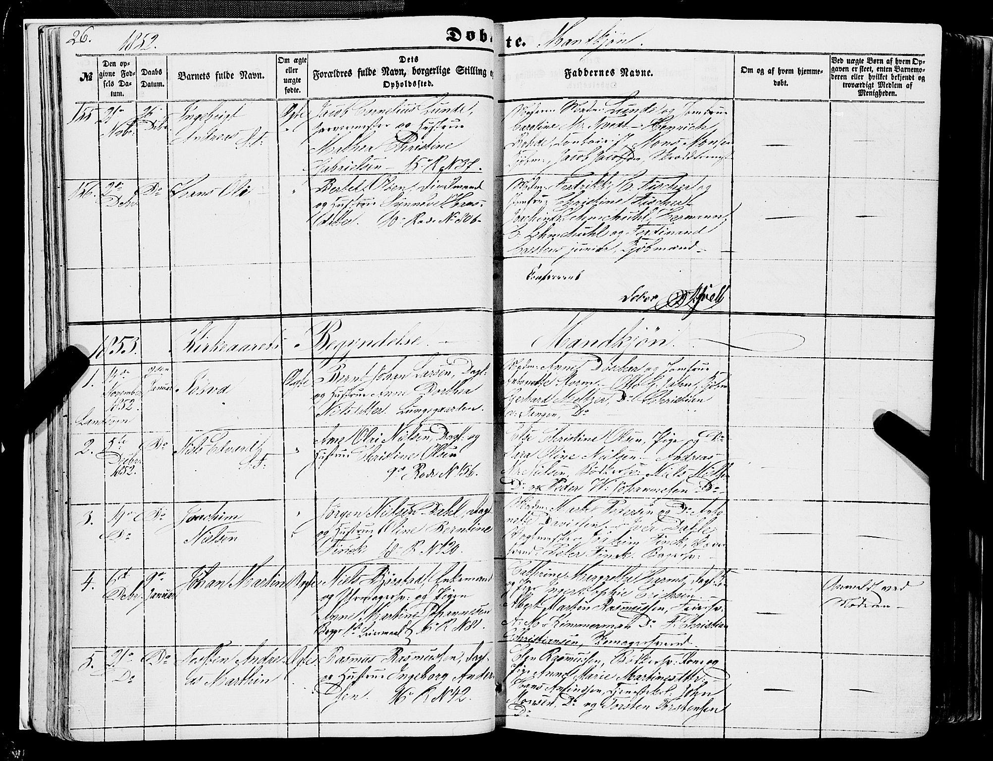 SAB, Domkirken Sokneprestembete, H/Haa/L0020: Ministerialbok nr. B 3, 1851-1859, s. 26