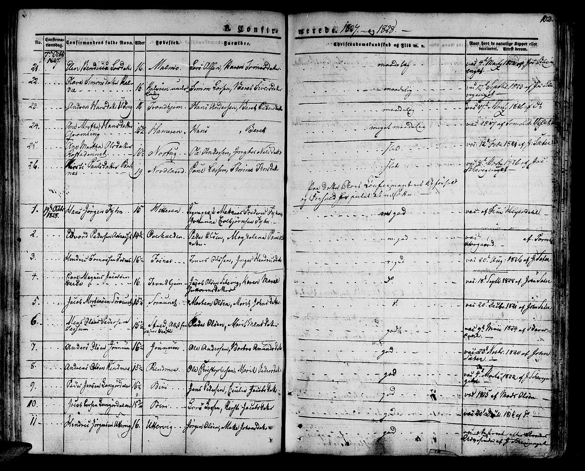 SAT, Ministerialprotokoller, klokkerbøker og fødselsregistre - Nord-Trøndelag, 741/L0390: Ministerialbok nr. 741A04, 1822-1836, s. 102