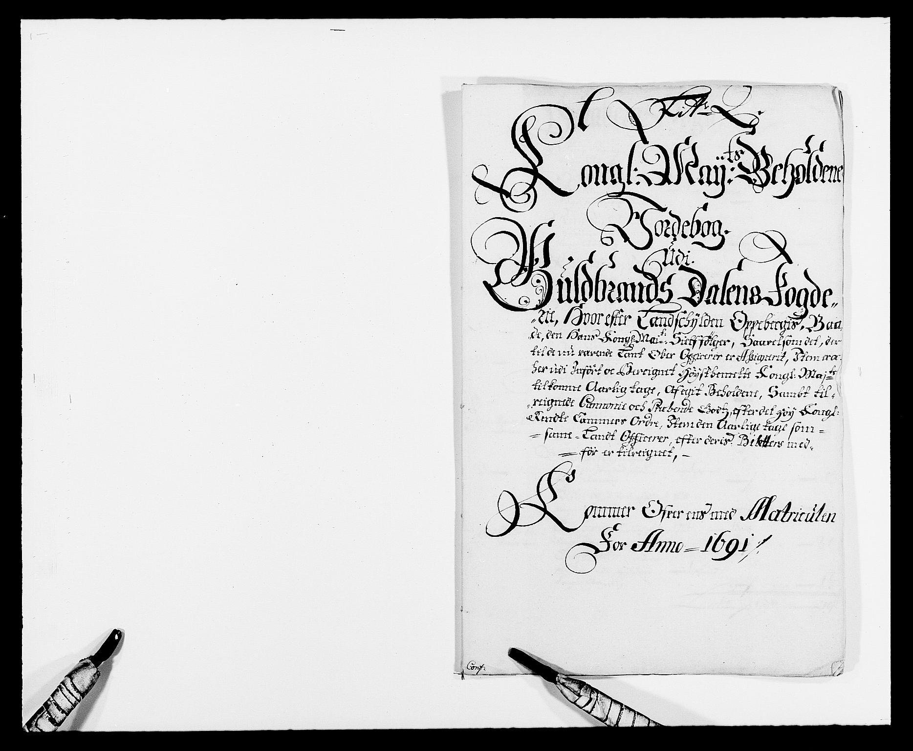 RA, Rentekammeret inntil 1814, Reviderte regnskaper, Fogderegnskap, R17/L1165: Fogderegnskap Gudbrandsdal, 1690-1692, s. 280