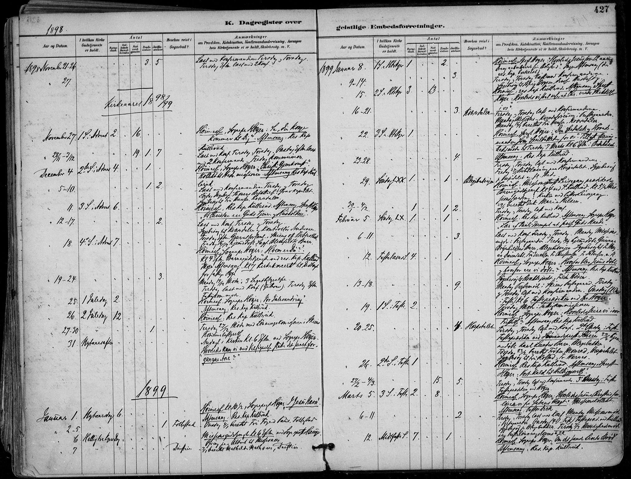 SAKO, Skien kirkebøker, F/Fa/L0010: Ministerialbok nr. 10, 1891-1899, s. 427