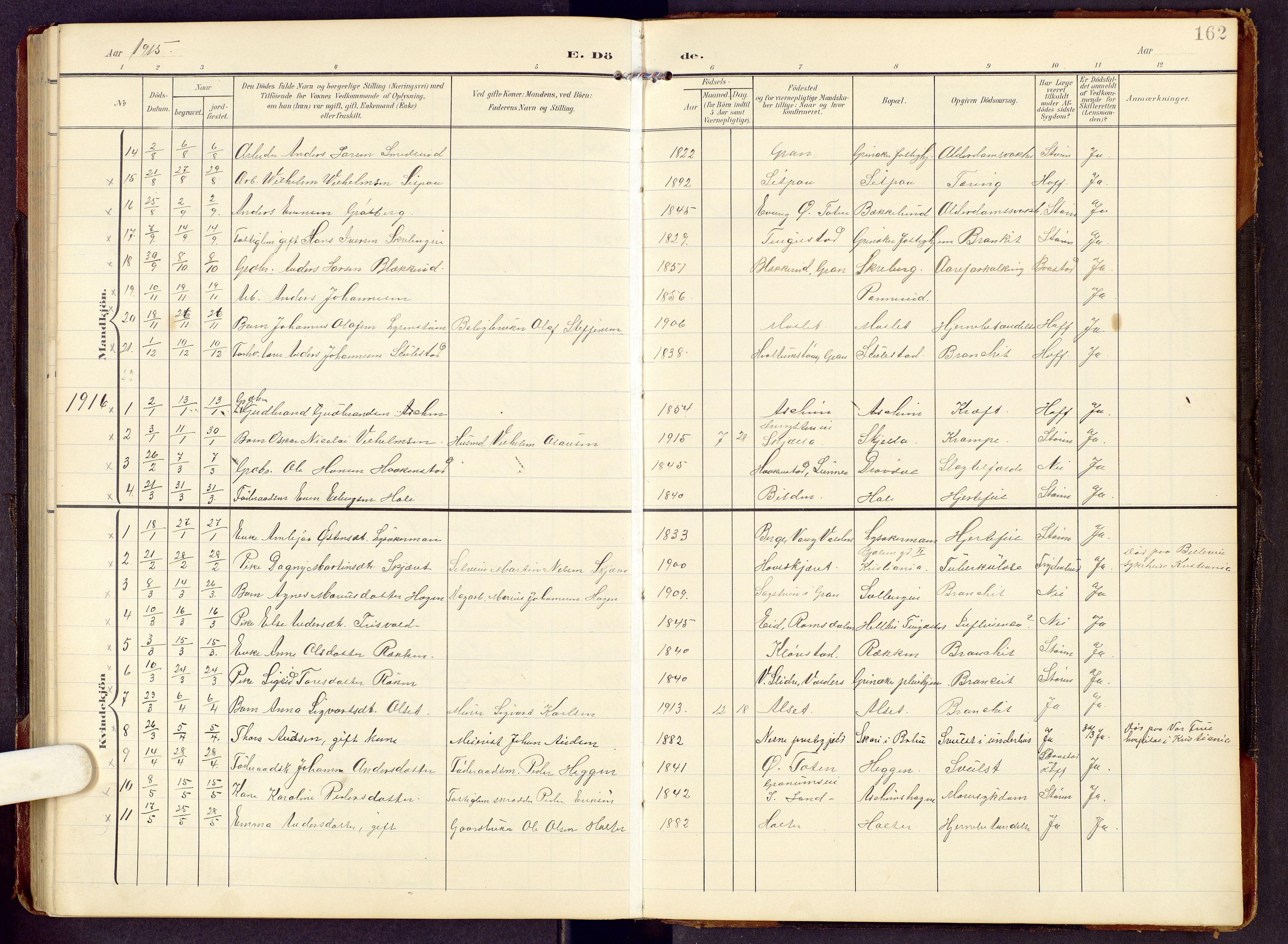 SAH, Brandbu prestekontor, Klokkerbok nr. 9, 1903-1916, s. 162