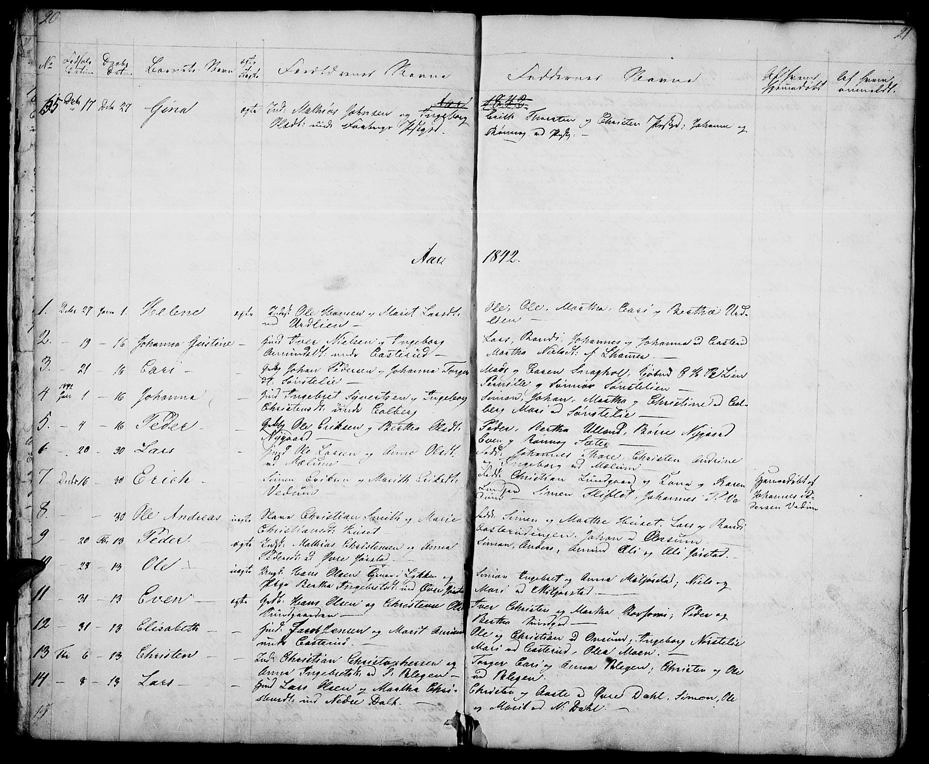 SAH, Fåberg prestekontor, Klokkerbok nr. 5, 1837-1864, s. 20-21