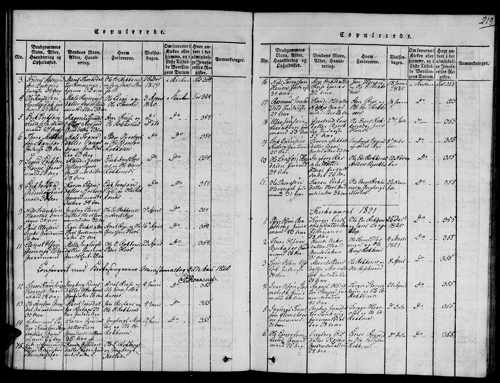 SAT, Ministerialprotokoller, klokkerbøker og fødselsregistre - Sør-Trøndelag, 672/L0854: Ministerialbok nr. 672A06 /2, 1816-1829, s. 219