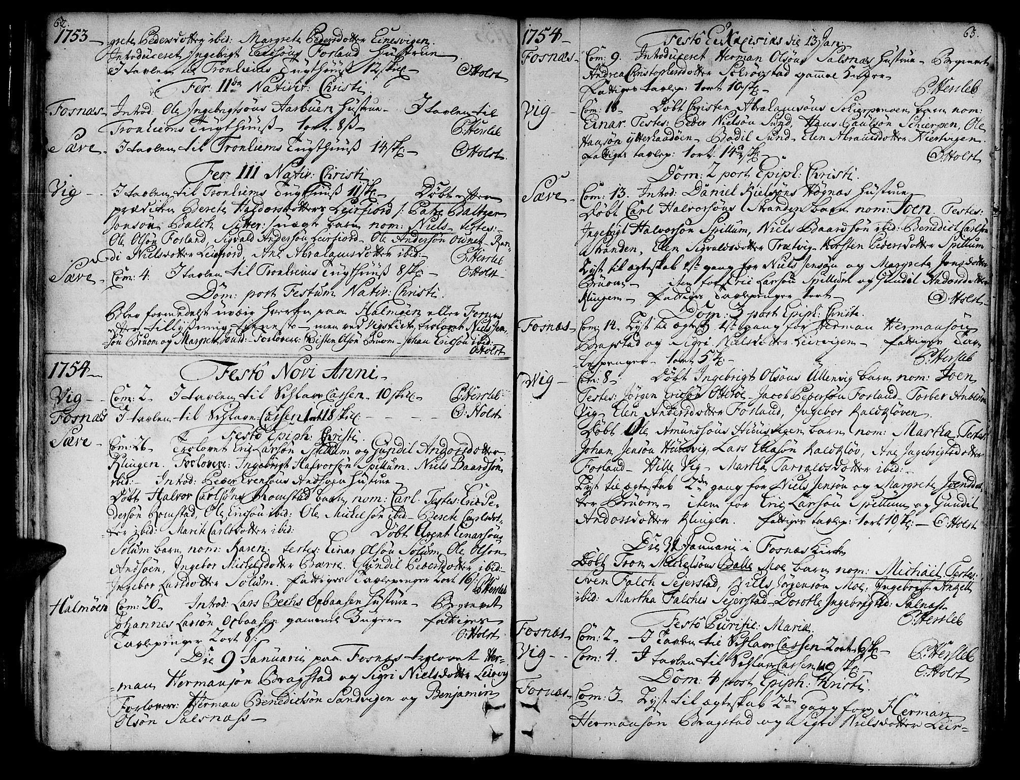 SAT, Ministerialprotokoller, klokkerbøker og fødselsregistre - Nord-Trøndelag, 773/L0607: Ministerialbok nr. 773A01, 1751-1783, s. 62-63