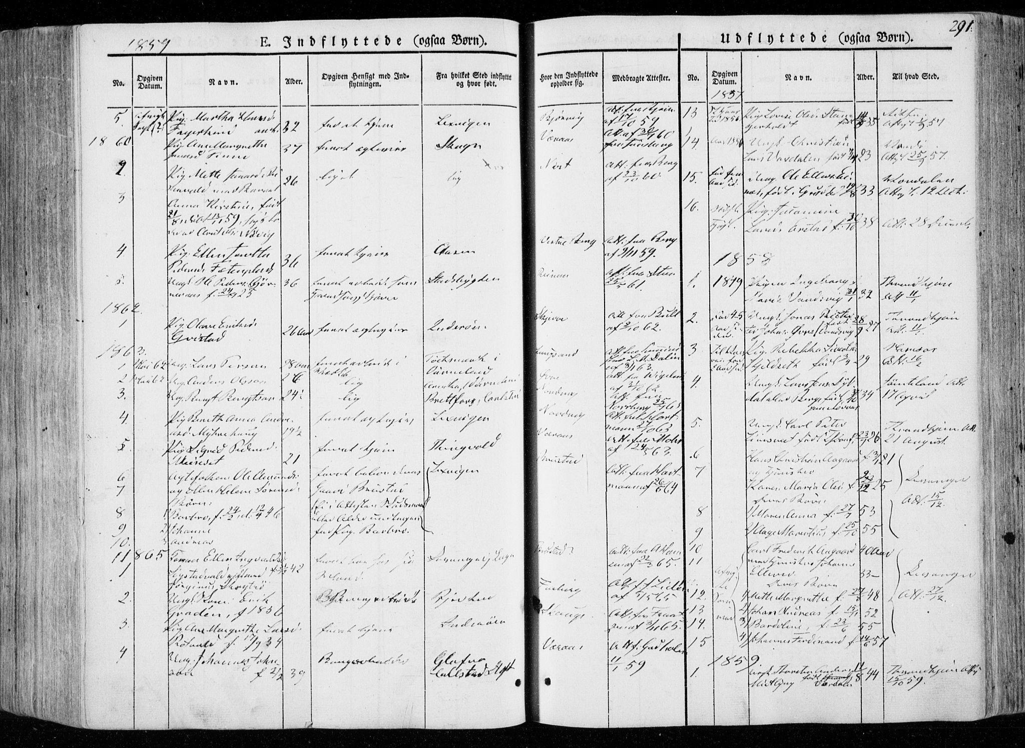 SAT, Ministerialprotokoller, klokkerbøker og fødselsregistre - Nord-Trøndelag, 722/L0218: Ministerialbok nr. 722A05, 1843-1868, s. 291