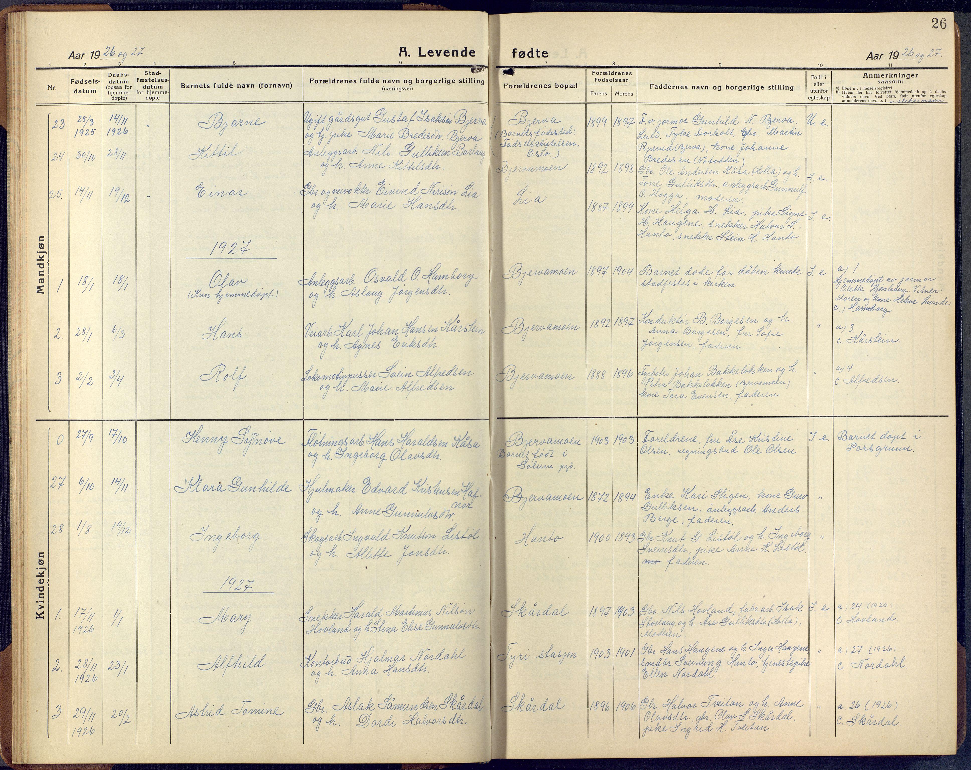 SAKO, Lunde kirkebøker, F/Fa/L0006: Ministerialbok nr. I 6, 1922-1940, s. 26