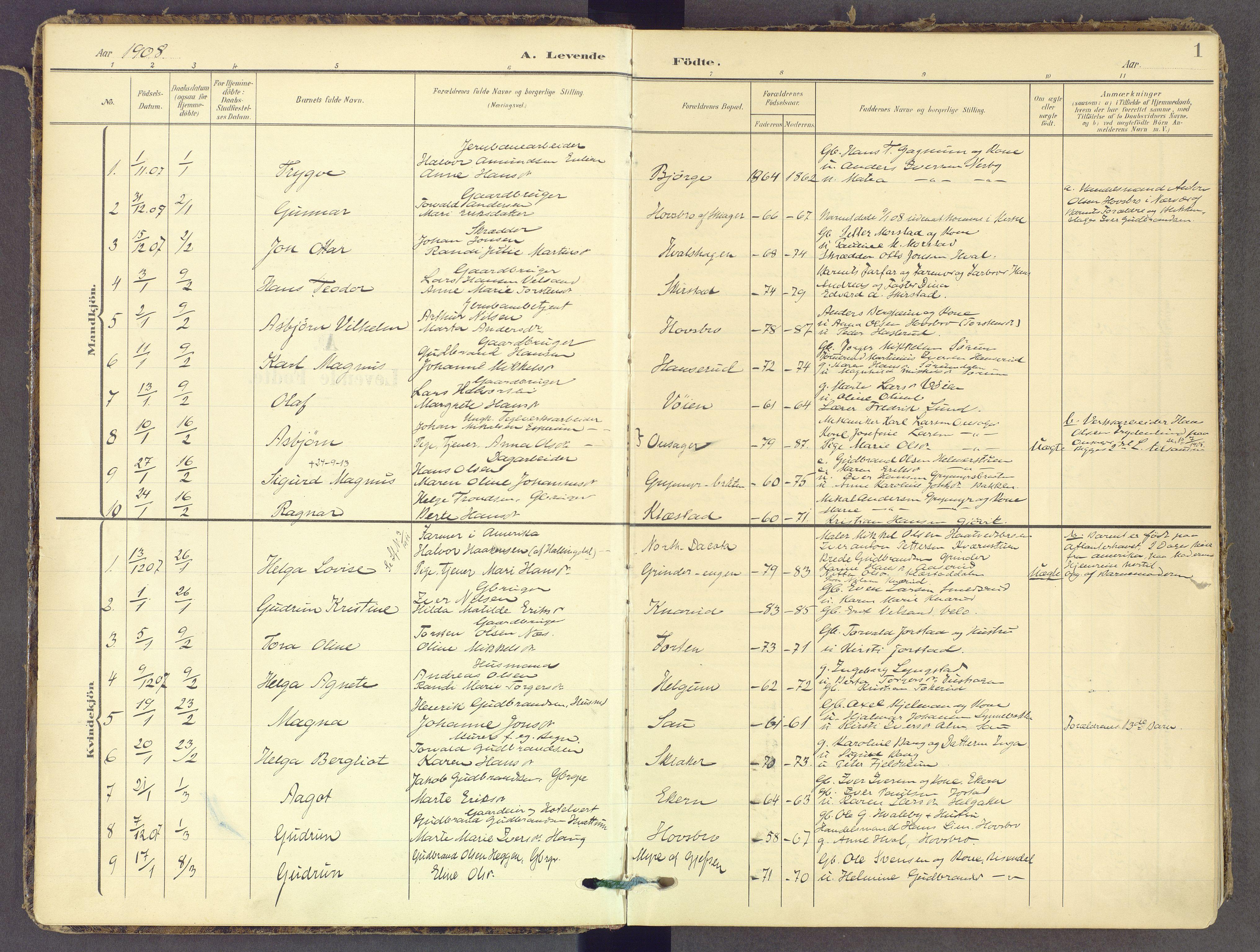 SAH, Gran prestekontor, Ministerialbok nr. 21, 1908-1932, s. 1