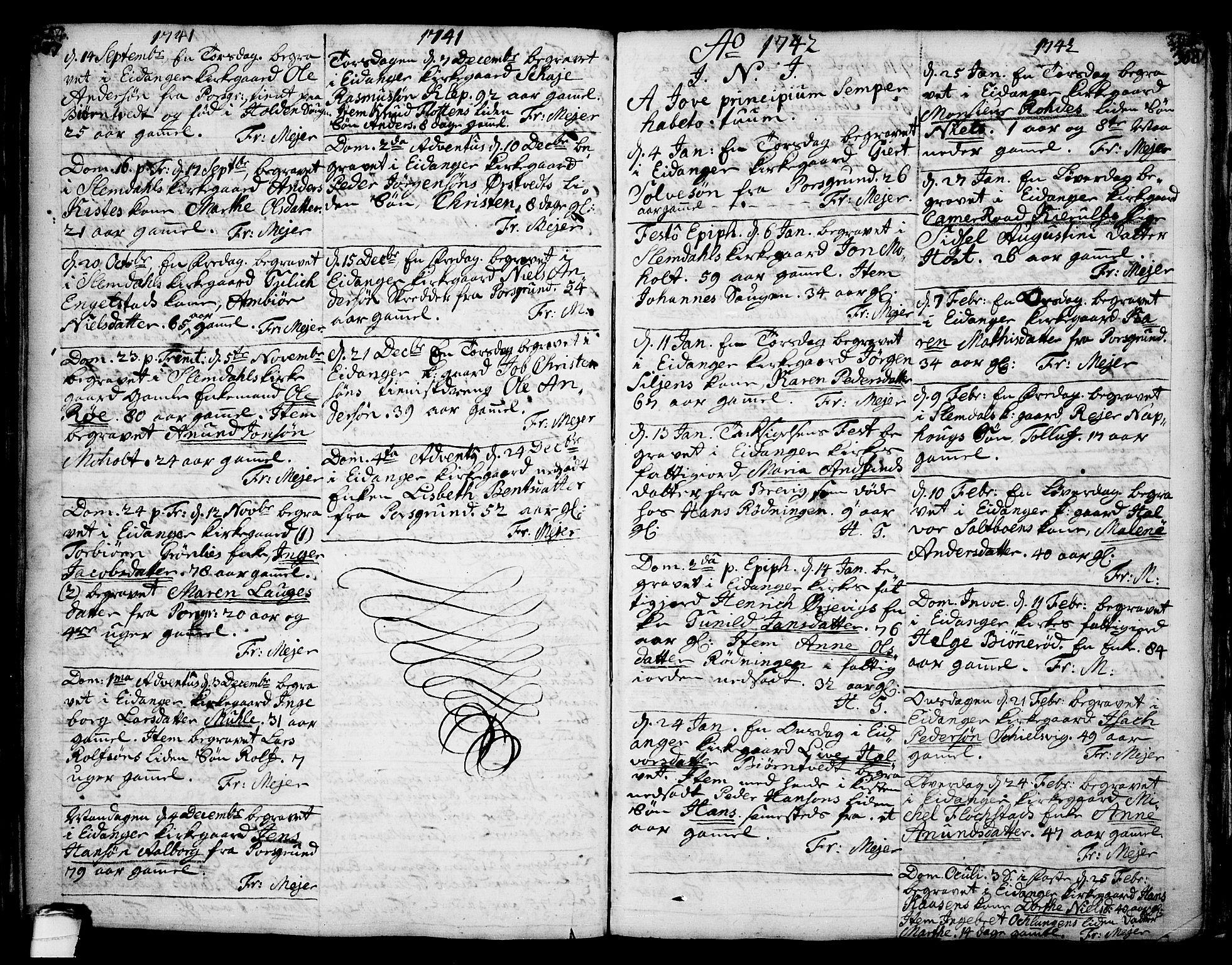 SAKO, Eidanger kirkebøker, F/Fa/L0004: Ministerialbok nr. 4, 1733-1759, s. 307-308