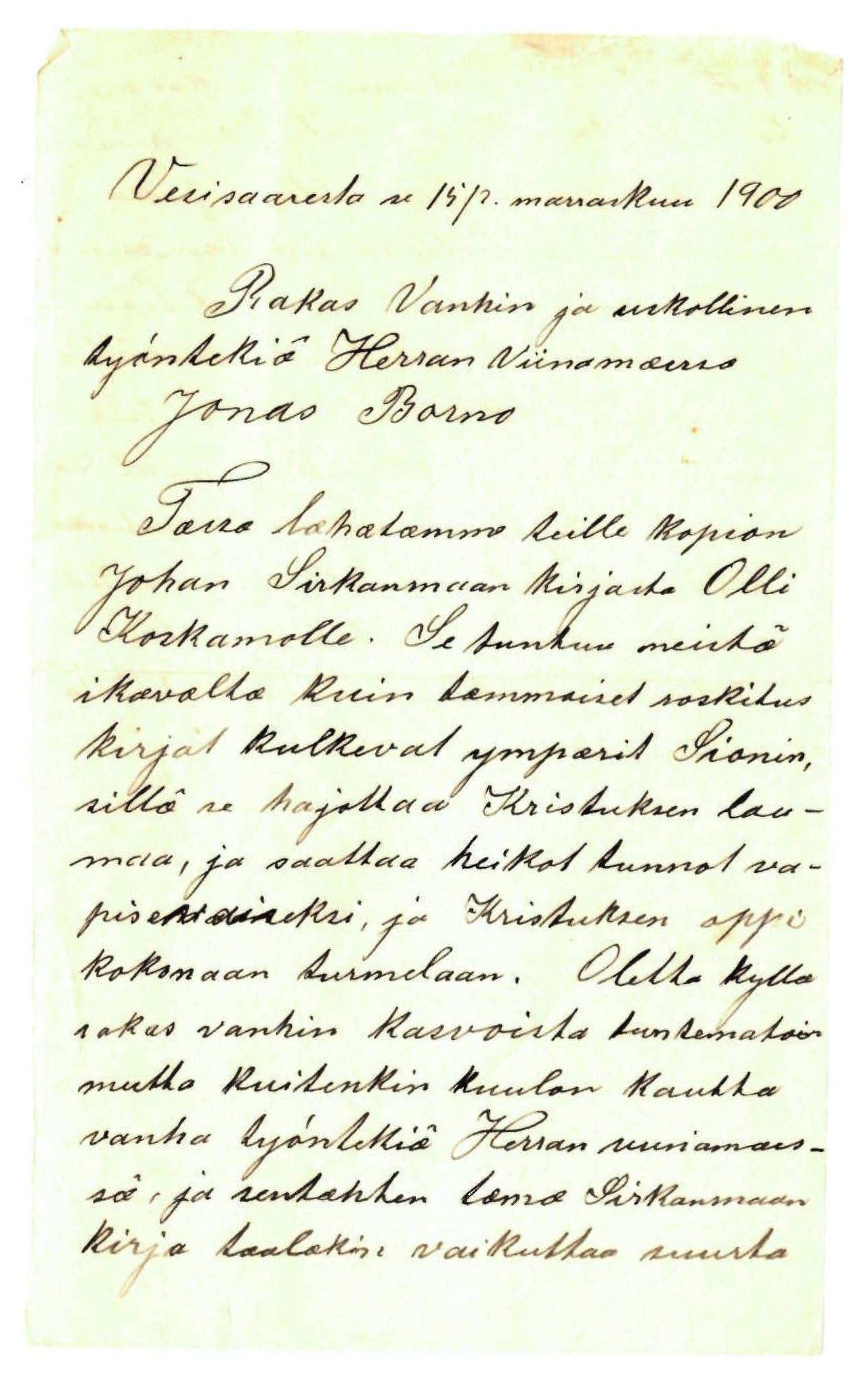 FMFB, Elise Balos brevsamling, F/Fa/L0013: Brev til Jonas Burnu, avsender mangler, 1900