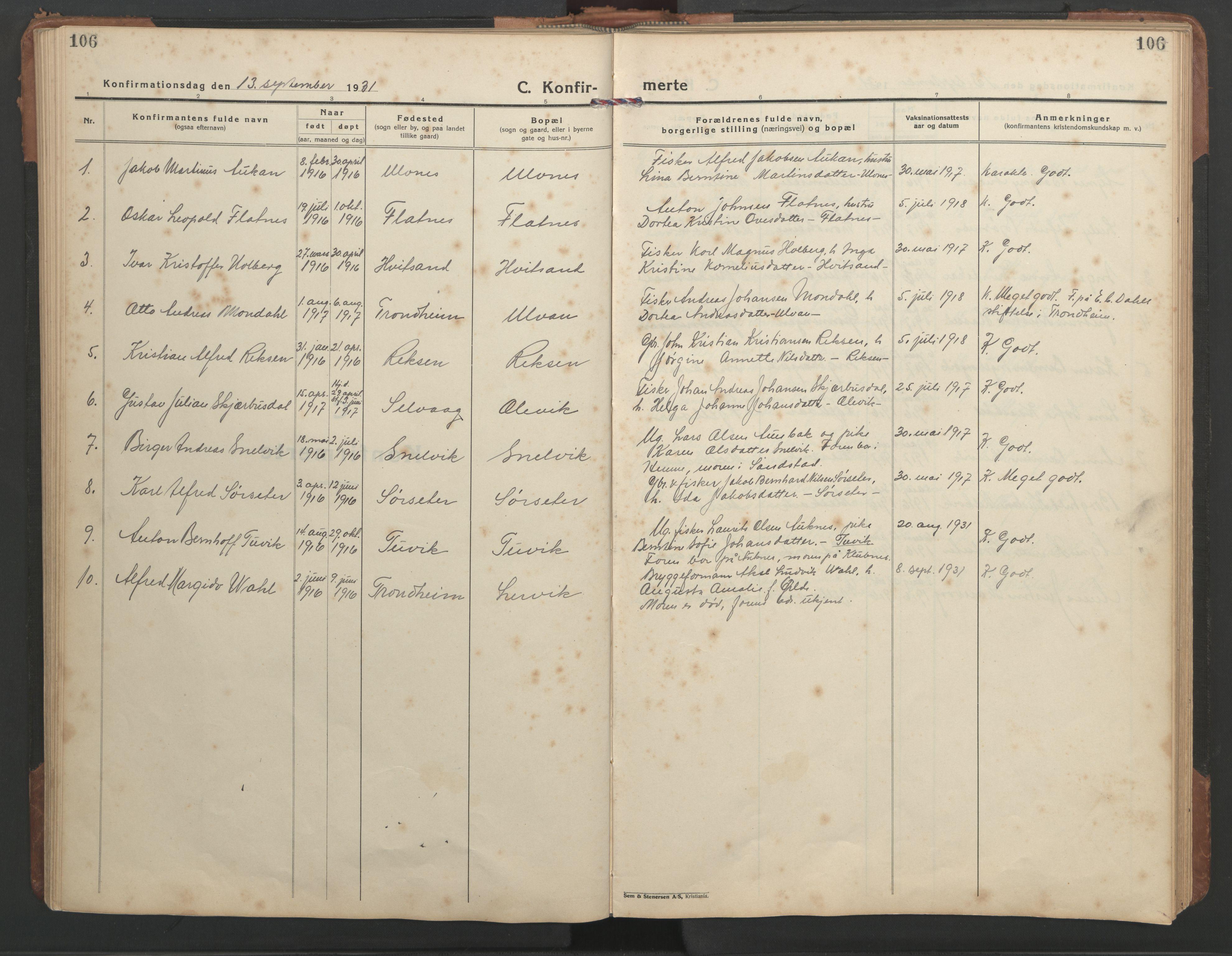 SAT, Ministerialprotokoller, klokkerbøker og fødselsregistre - Sør-Trøndelag, 638/L0569: Klokkerbok nr. 638C01, 1923-1961, s. 106