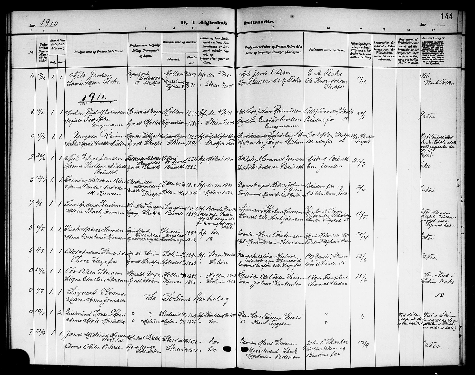 SAKO, Solum kirkebøker, G/Gb/L0005: Klokkerbok nr. II 5, 1905-1914, s. 144