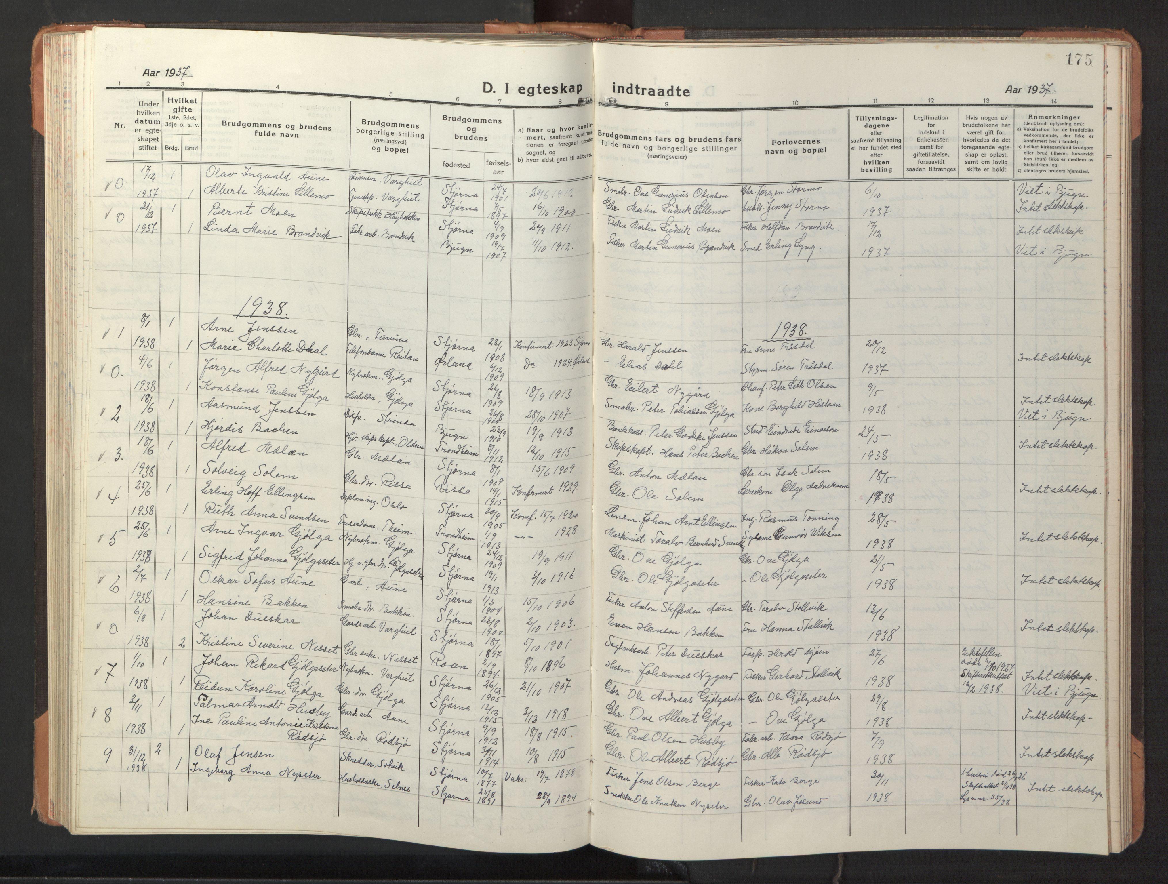 SAT, Ministerialprotokoller, klokkerbøker og fødselsregistre - Sør-Trøndelag, 653/L0658: Klokkerbok nr. 653C02, 1919-1947, s. 175