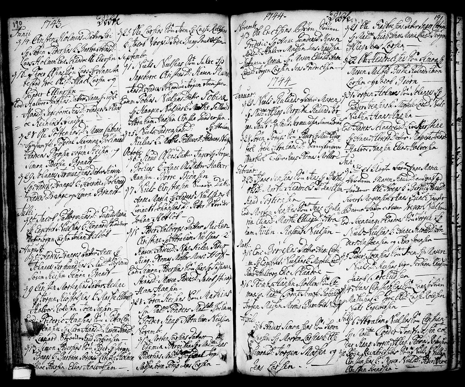 SAKO, Kragerø kirkebøker, F/Fa/L0001: Ministerialbok nr. 1, 1702-1766, s. 190-191