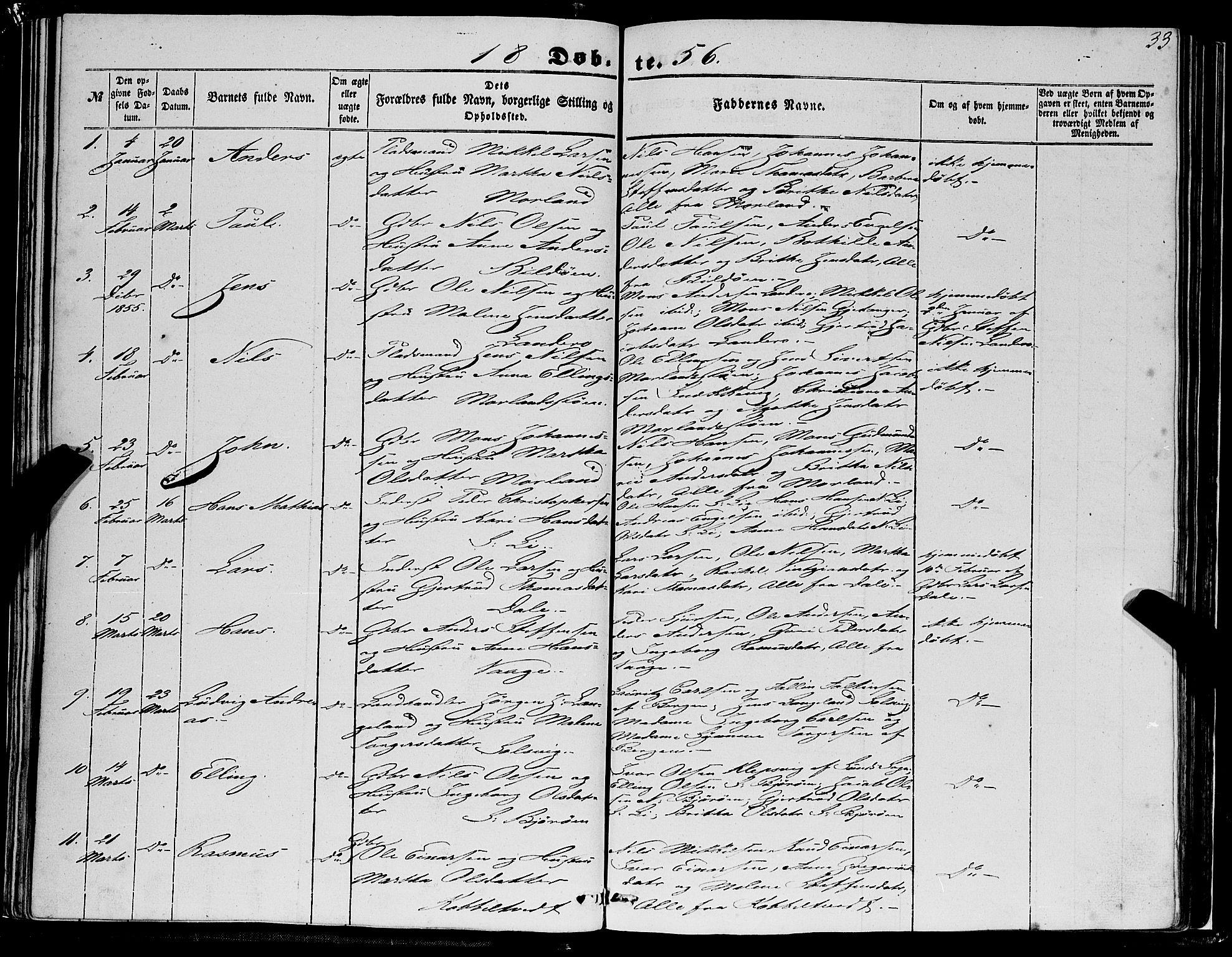 SAB, Fjell Sokneprestembete, H/Haa: Ministerialbok nr. A 2, 1847-1864, s. 33