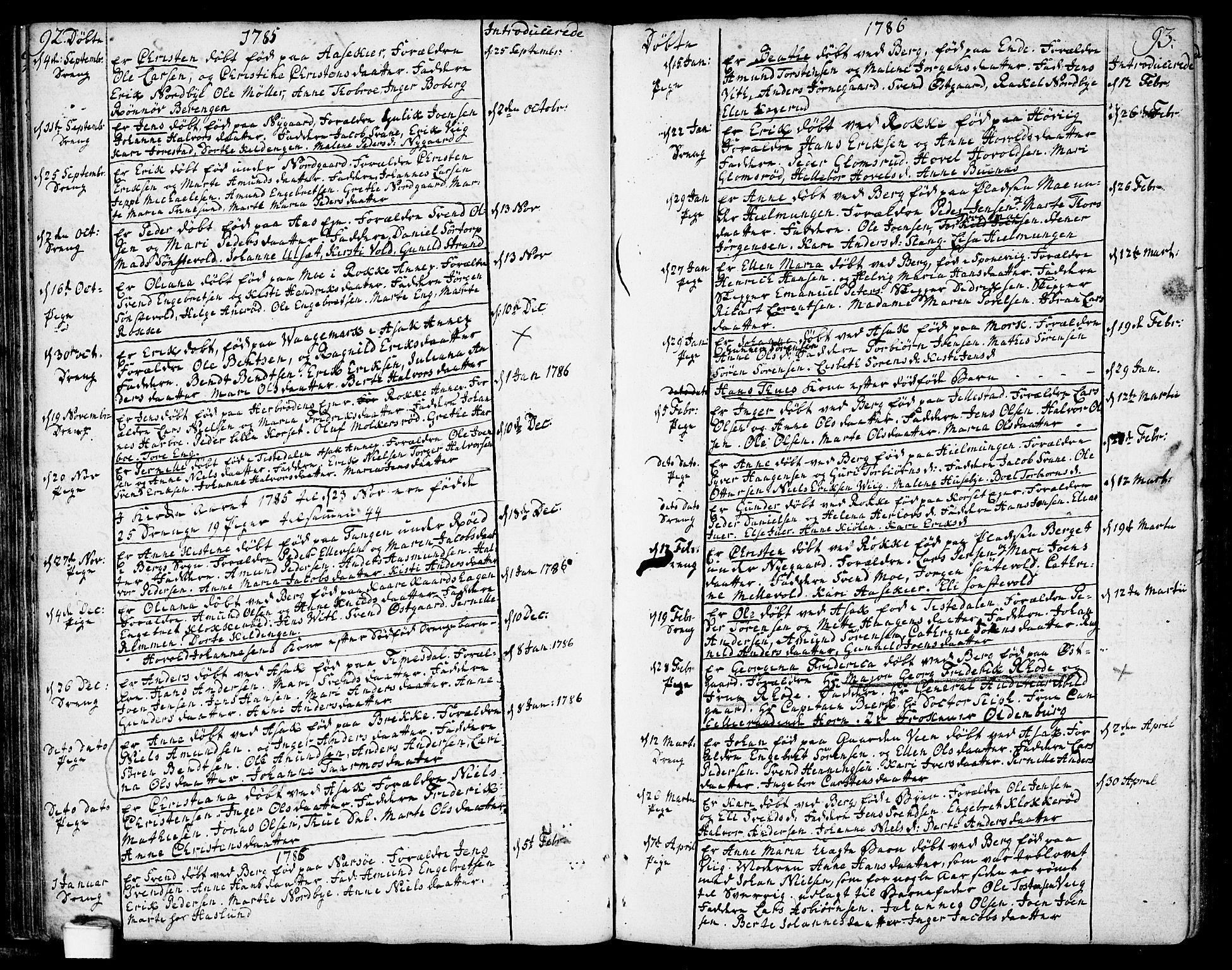 SAO, Berg prestekontor Kirkebøker, F/Fa/L0001: Ministerialbok nr. I 1, 1770-1814, s. 92-93
