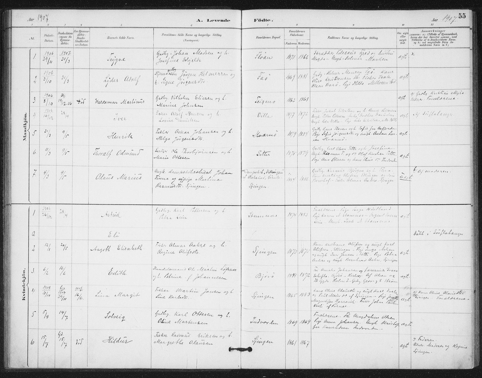 SAT, Ministerialprotokoller, klokkerbøker og fødselsregistre - Nord-Trøndelag, 772/L0603: Ministerialbok nr. 772A01, 1885-1912, s. 55