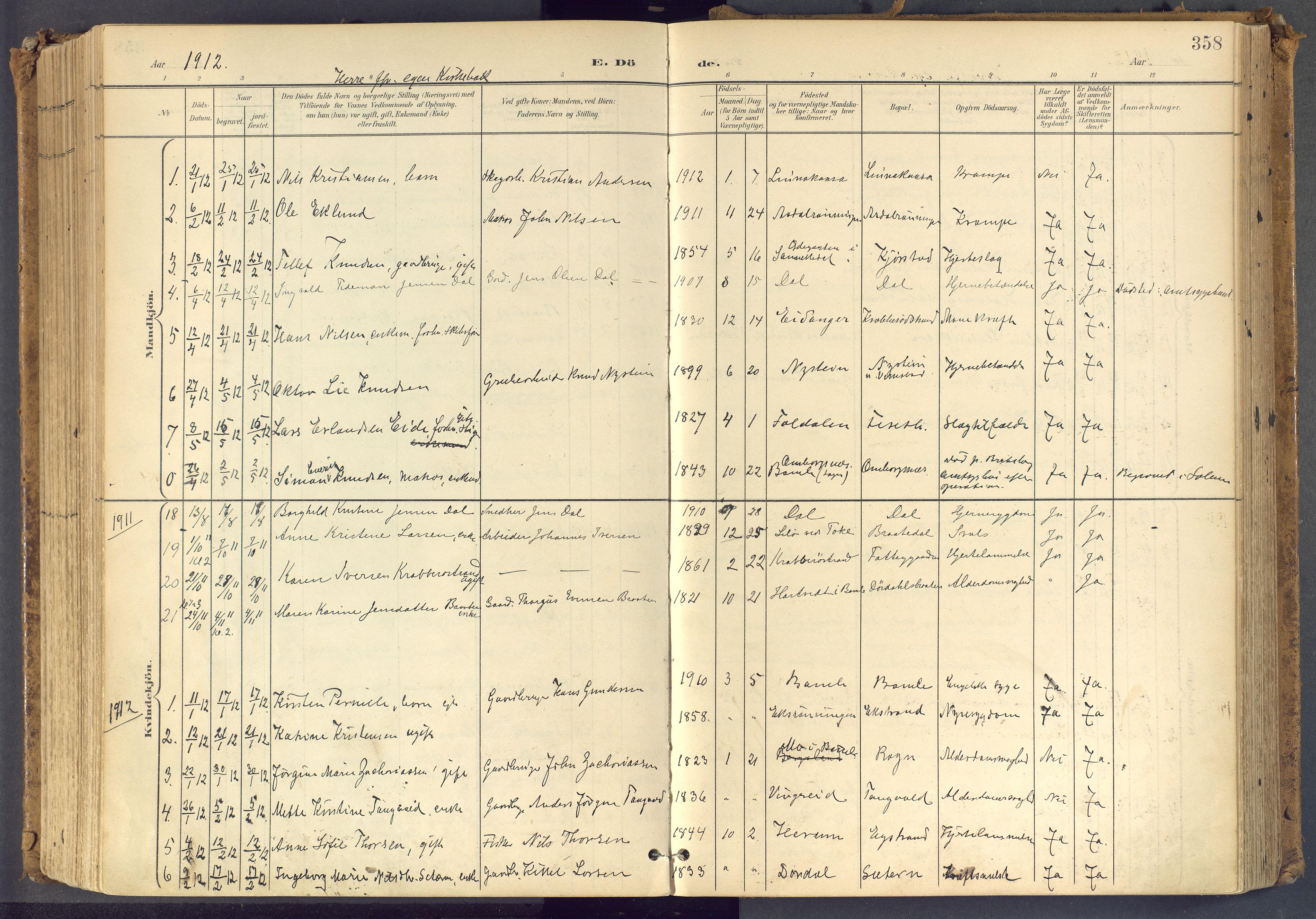 SAKO, Bamble kirkebøker, F/Fa/L0009: Ministerialbok nr. I 9, 1901-1917, s. 358