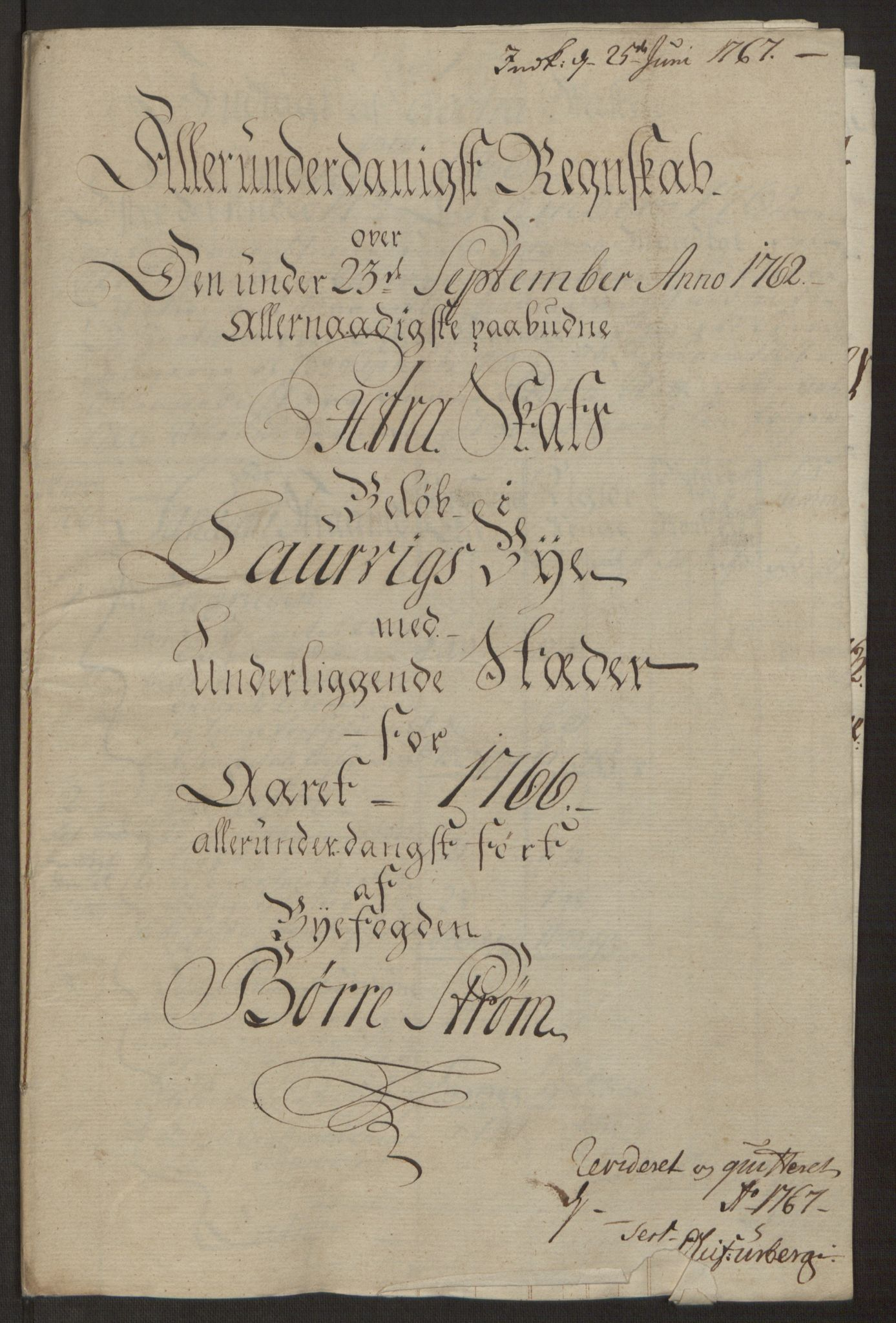RA, Rentekammeret inntil 1814, Reviderte regnskaper, Byregnskaper, R/Ri/L0183: [I4] Kontribusjonsregnskap, 1762-1768, s. 314