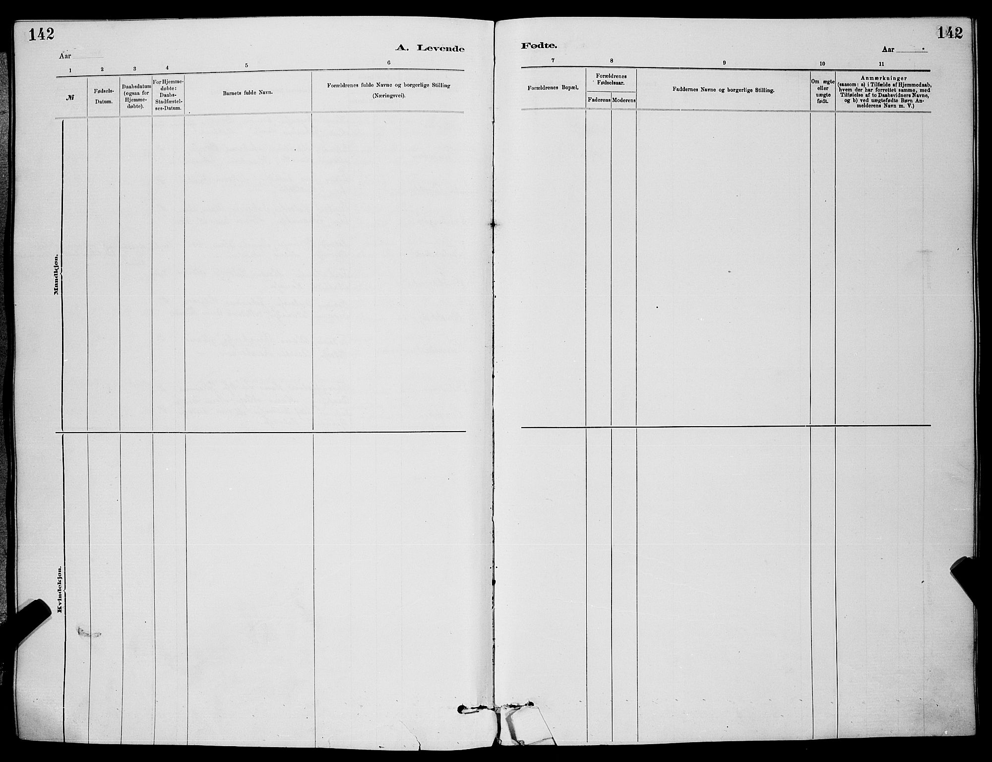 SAKO, Skien kirkebøker, G/Ga/L0006: Klokkerbok nr. 6, 1881-1890, s. 142