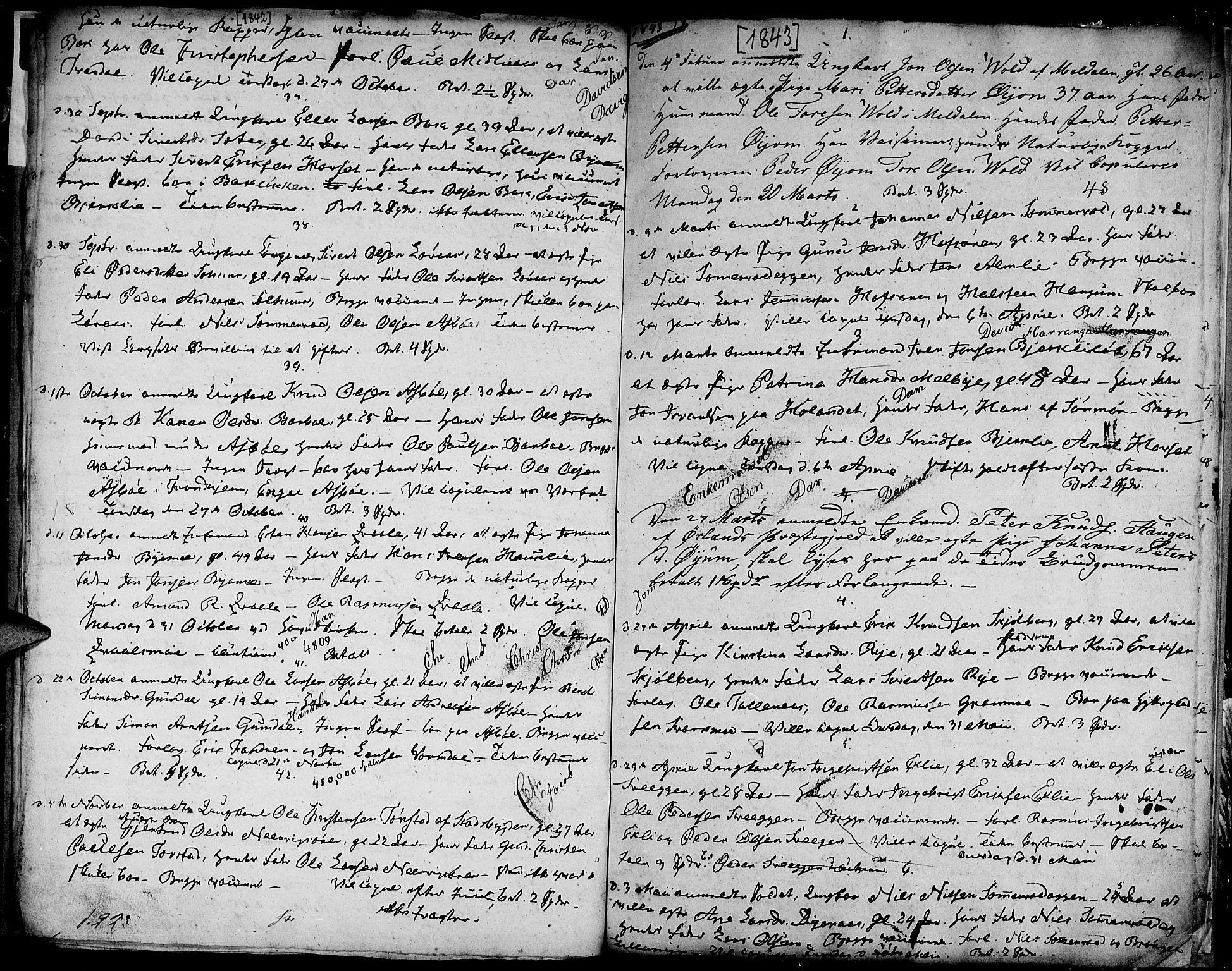 SAT, Ministerialprotokoller, klokkerbøker og fødselsregistre - Sør-Trøndelag, 668/L0808: Ministerialbok nr. 668A08, 1837-1845