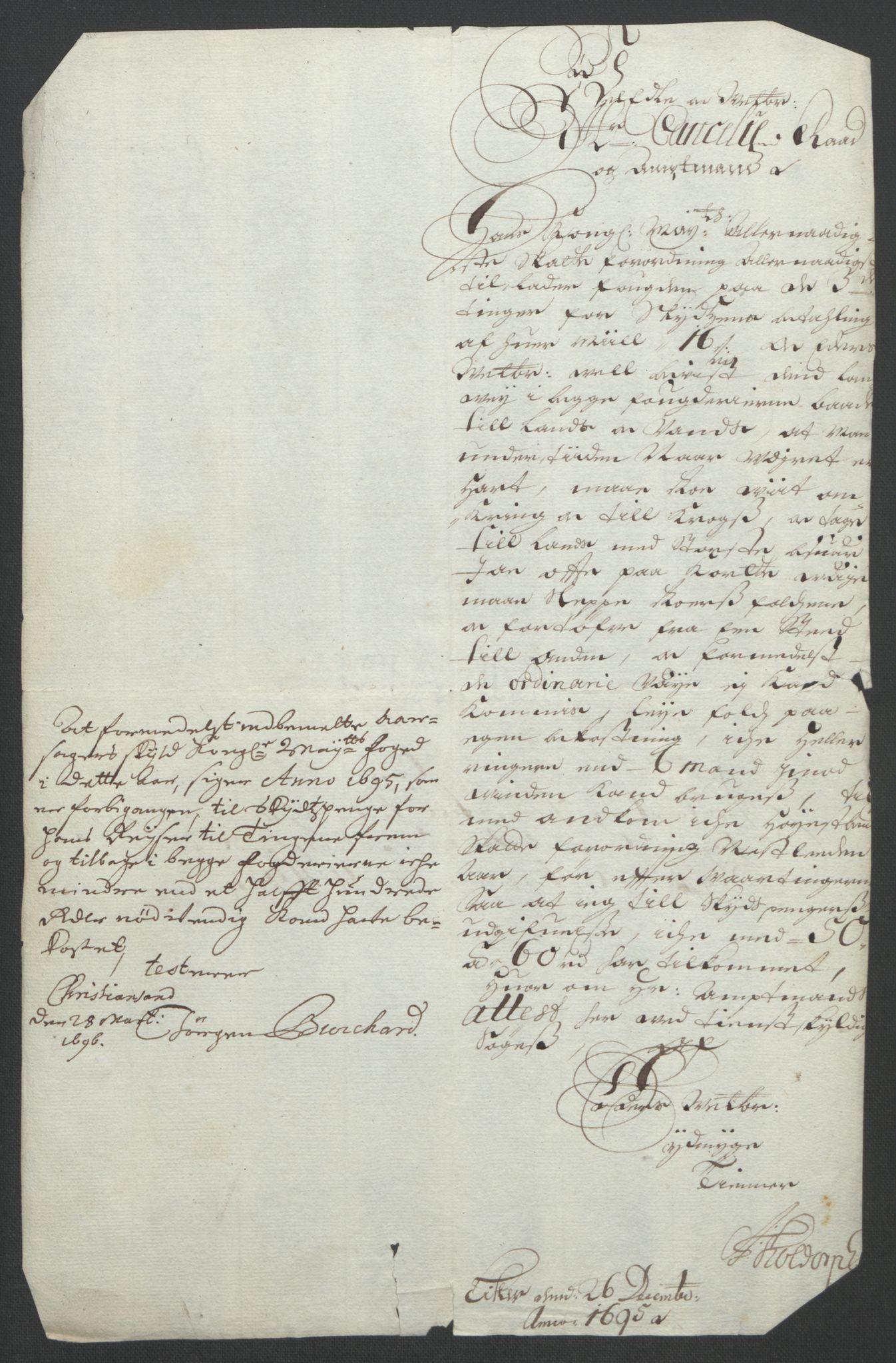 RA, Rentekammeret inntil 1814, Reviderte regnskaper, Fogderegnskap, R43/L2545: Fogderegnskap Lista og Mandal, 1694-1695, s. 363