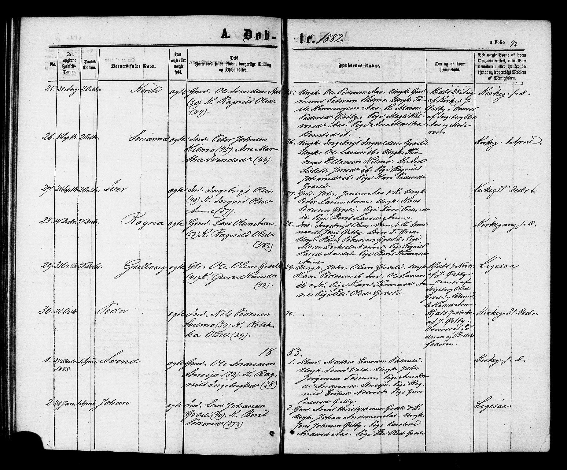 SAT, Ministerialprotokoller, klokkerbøker og fødselsregistre - Sør-Trøndelag, 698/L1163: Ministerialbok nr. 698A01, 1862-1887, s. 42