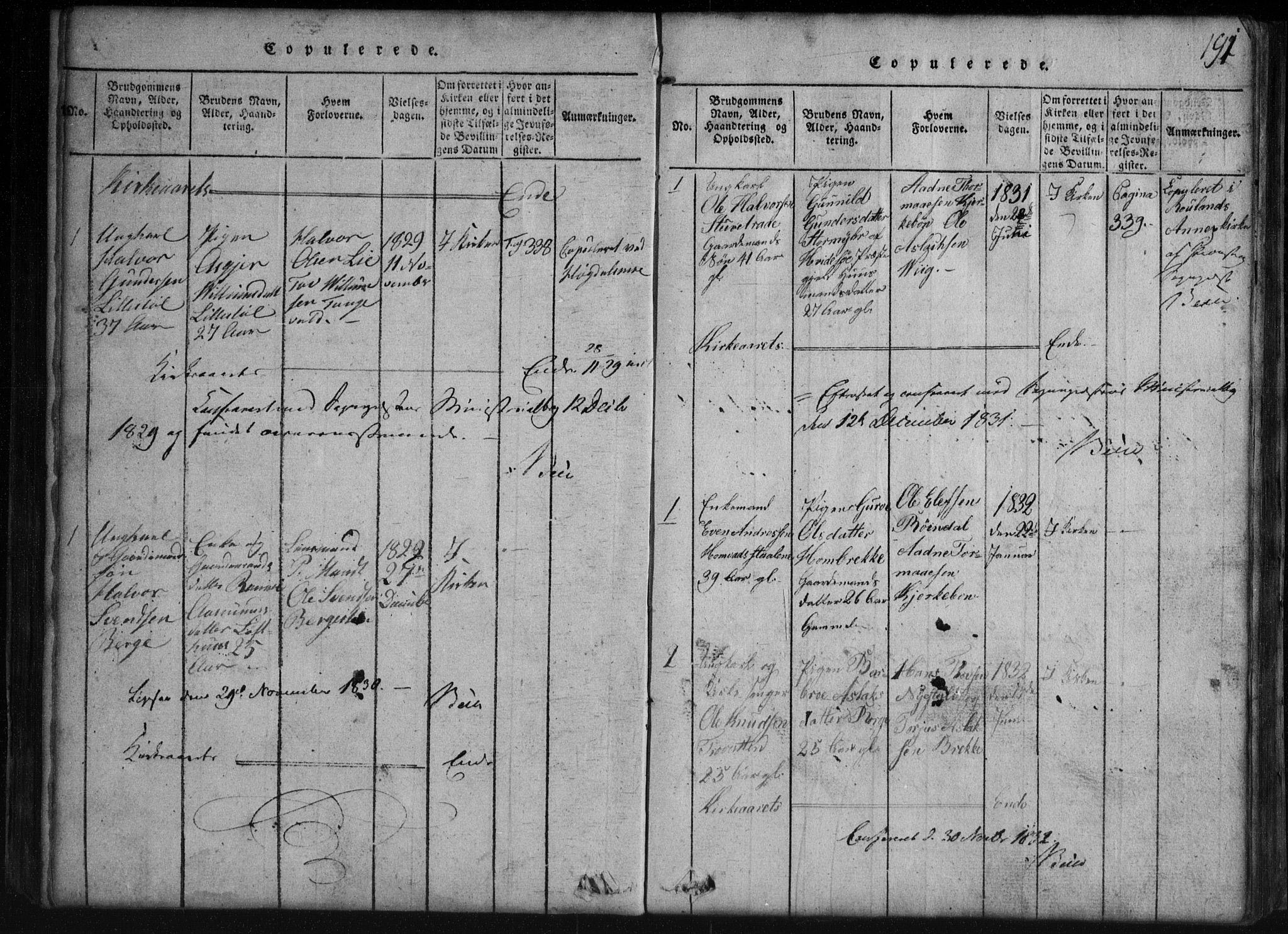 SAKO, Rauland kirkebøker, G/Gb/L0001: Klokkerbok nr. II 1, 1815-1886, s. 191