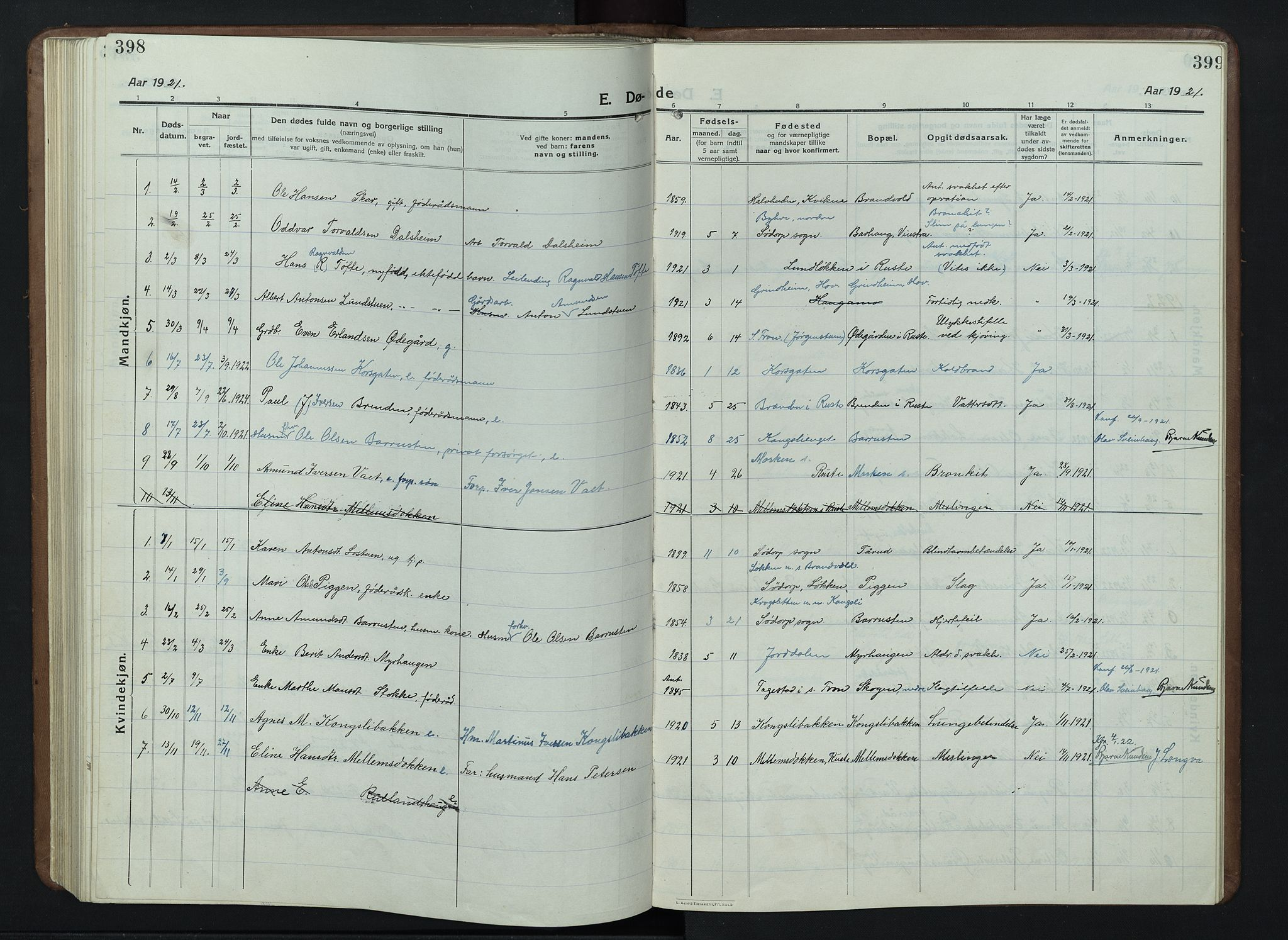 SAH, Nord-Fron prestekontor, Klokkerbok nr. 7, 1915-1946, s. 398-399