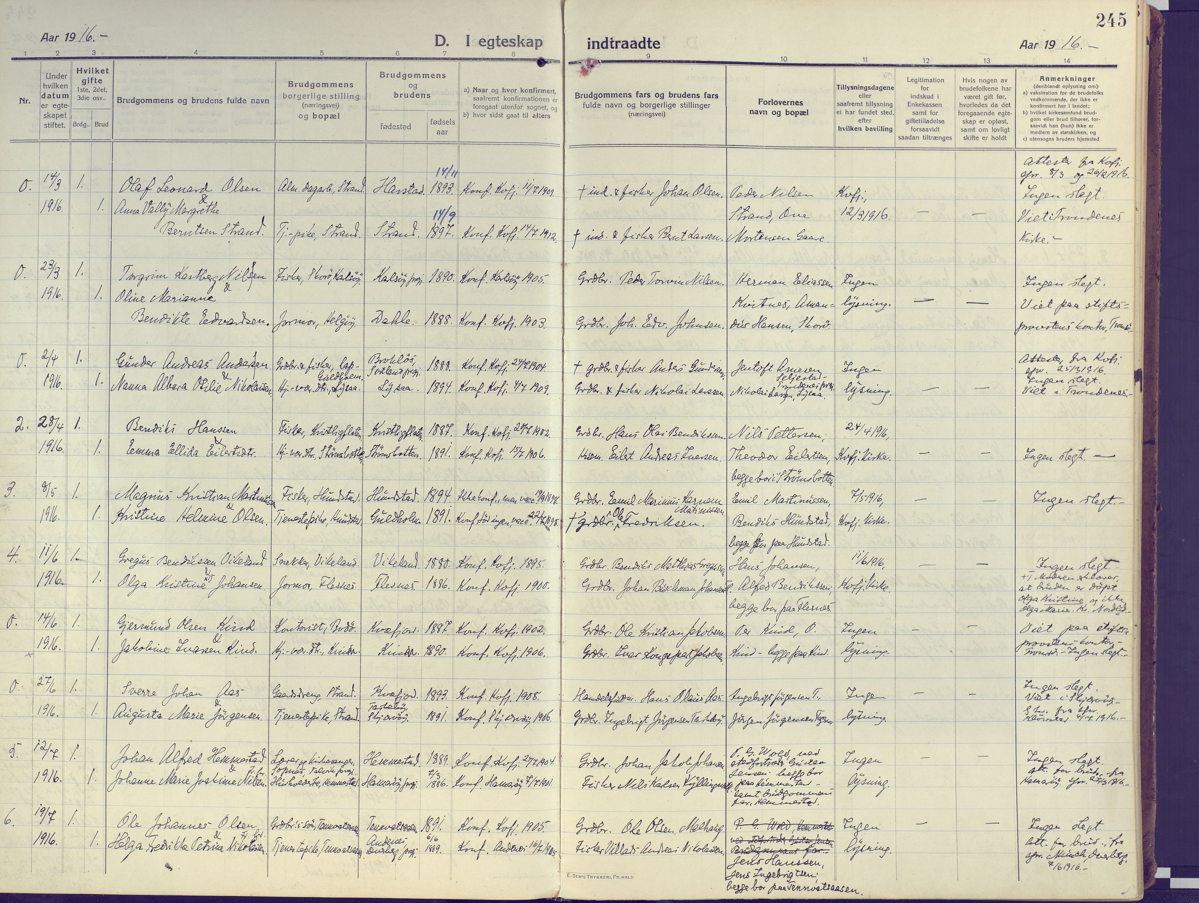 SATØ, Kvæfjord sokneprestkontor, G/Ga/Gaa/L0007kirke: Ministerialbok nr. 7, 1915-1931, s. 245