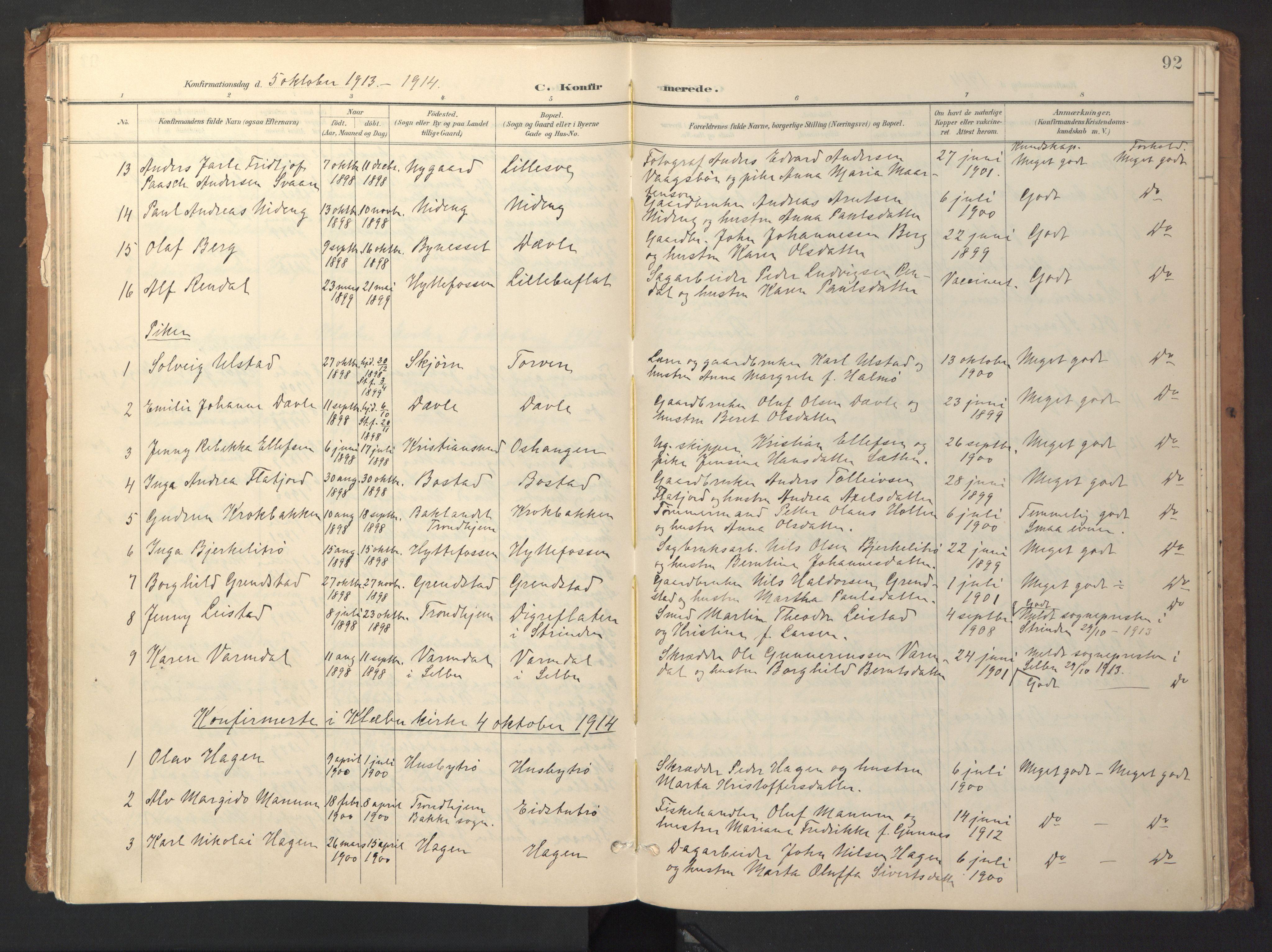 SAT, Ministerialprotokoller, klokkerbøker og fødselsregistre - Sør-Trøndelag, 618/L0448: Ministerialbok nr. 618A11, 1898-1916, s. 92