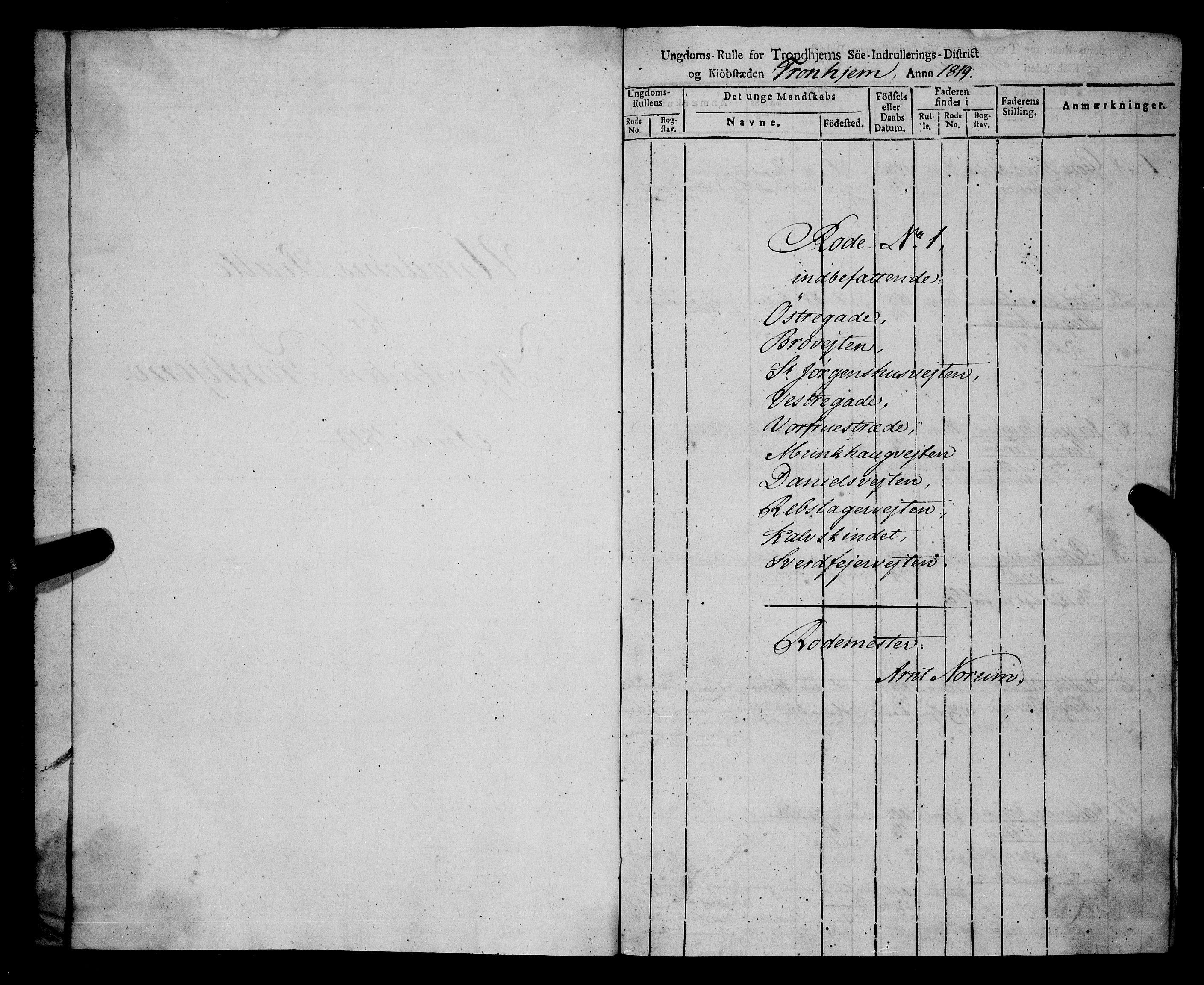 SAT, Sjøinnrulleringen - Trondhjemske distrikt, 01/L0016: --, 1819