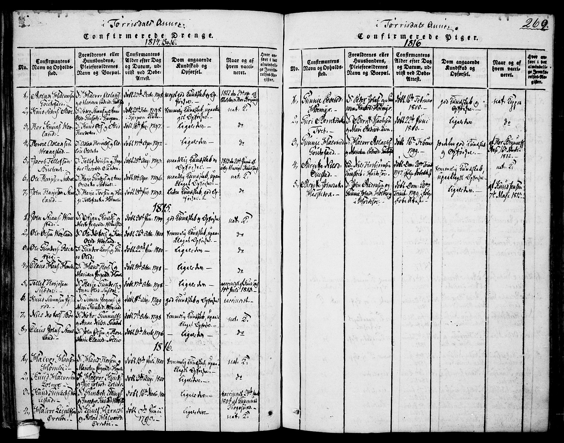 SAKO, Drangedal kirkebøker, F/Fa/L0005: Ministerialbok nr. 5 /2, 1814-1831, s. 269