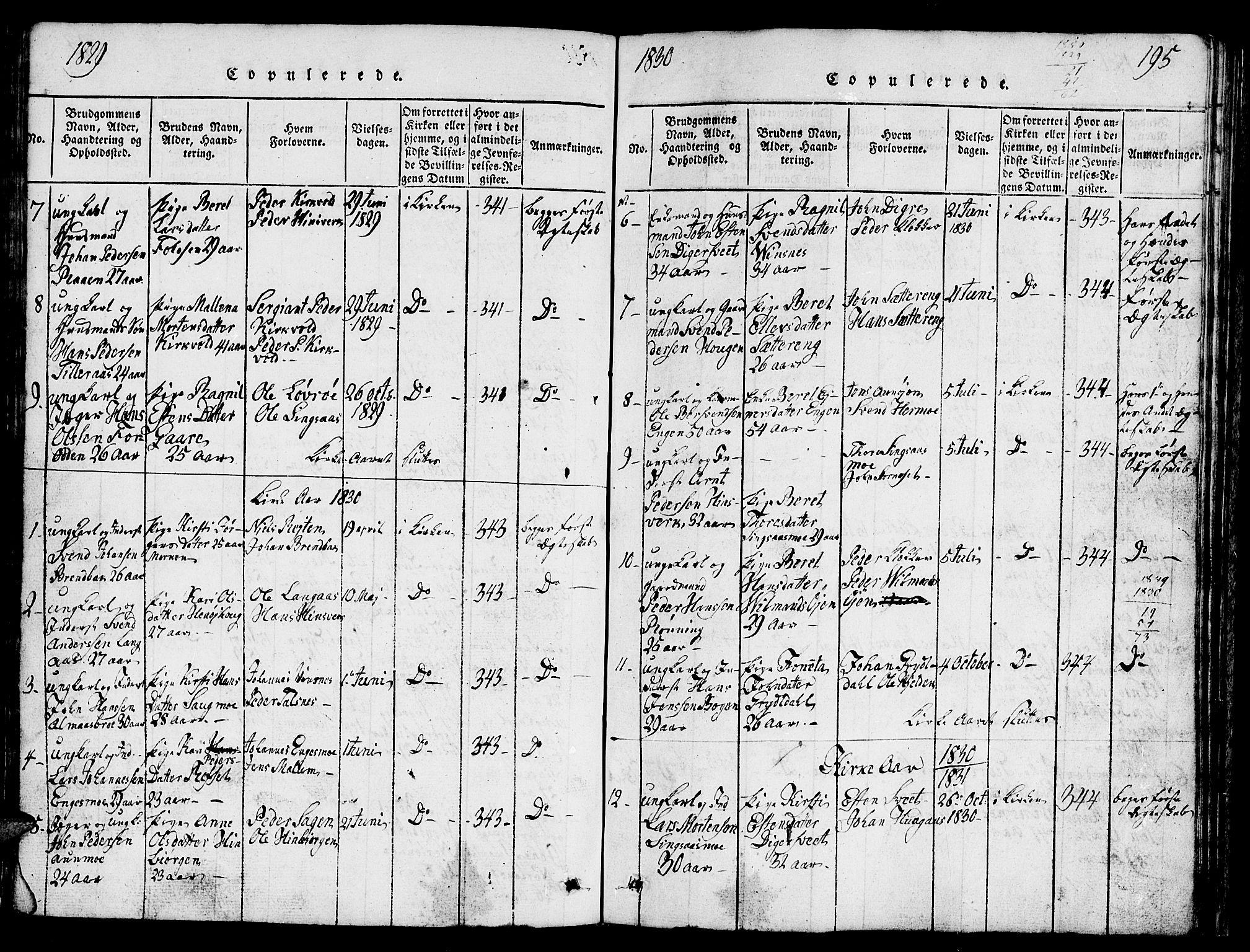SAT, Ministerialprotokoller, klokkerbøker og fødselsregistre - Sør-Trøndelag, 688/L1026: Klokkerbok nr. 688C01, 1817-1860, s. 195