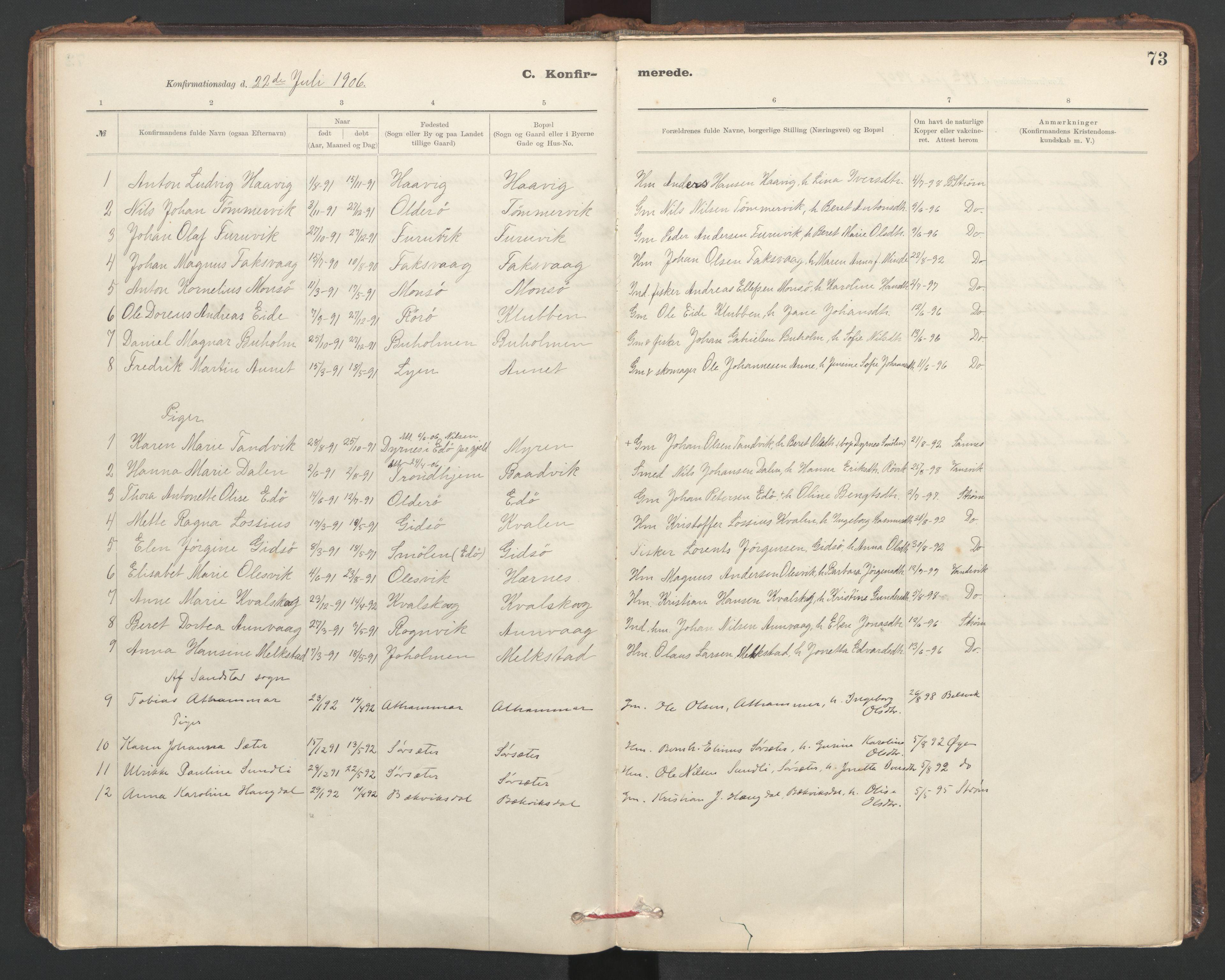 SAT, Ministerialprotokoller, klokkerbøker og fødselsregistre - Sør-Trøndelag, 635/L0552: Ministerialbok nr. 635A02, 1899-1919, s. 73