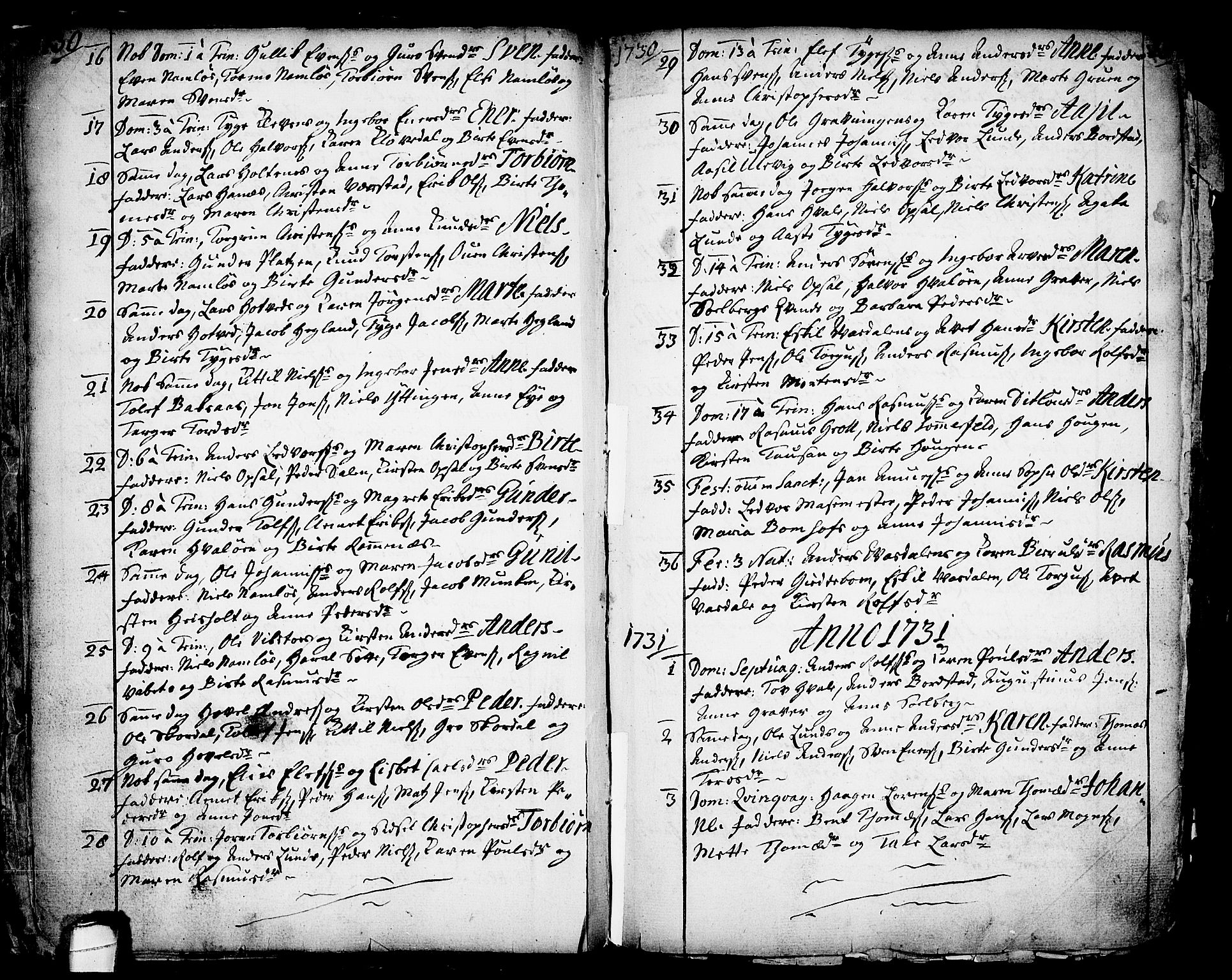 SAKO, Holla kirkebøker, F/Fa/L0001: Ministerialbok nr. 1, 1717-1779, s. 18