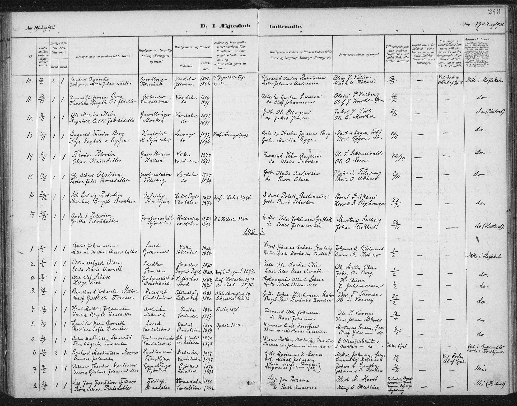 SAT, Ministerialprotokoller, klokkerbøker og fødselsregistre - Nord-Trøndelag, 723/L0246: Ministerialbok nr. 723A15, 1900-1917, s. 243
