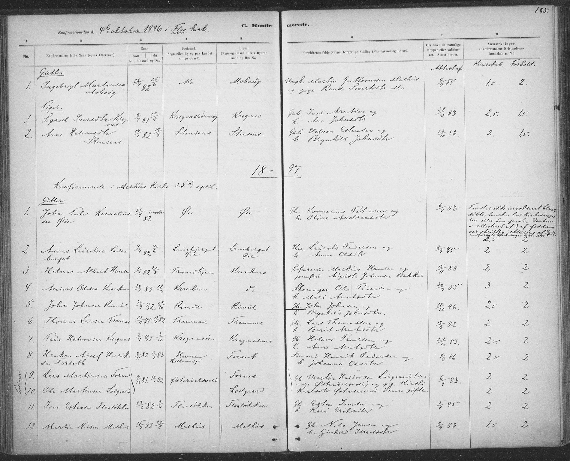SAT, Ministerialprotokoller, klokkerbøker og fødselsregistre - Sør-Trøndelag, 691/L1085: Ministerialbok nr. 691A17, 1887-1908, s. 185