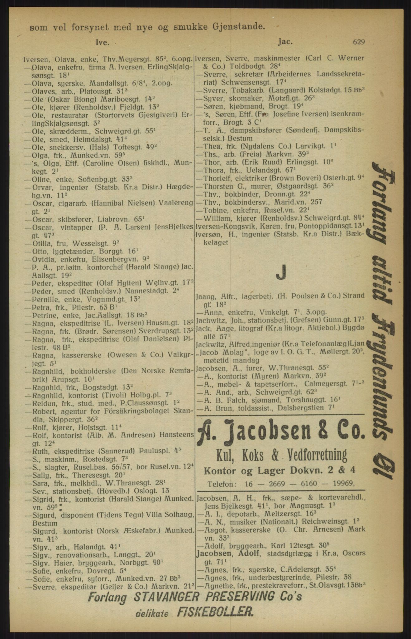 RA, Kristiania adressebok (publikasjon)*, 1915, s. 629