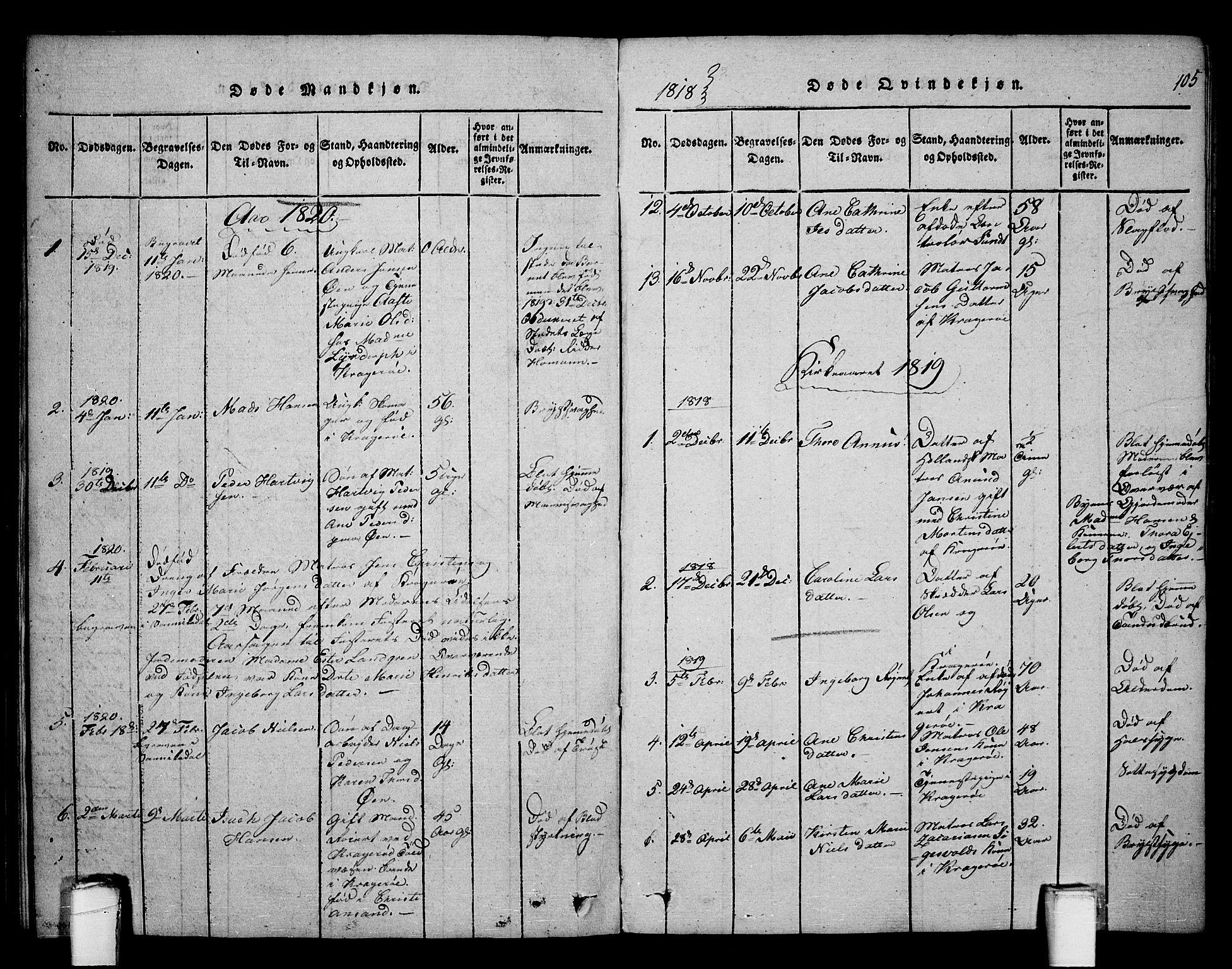SAKO, Kragerø kirkebøker, F/Fa/L0004: Ministerialbok nr. 4, 1814-1831, s. 105