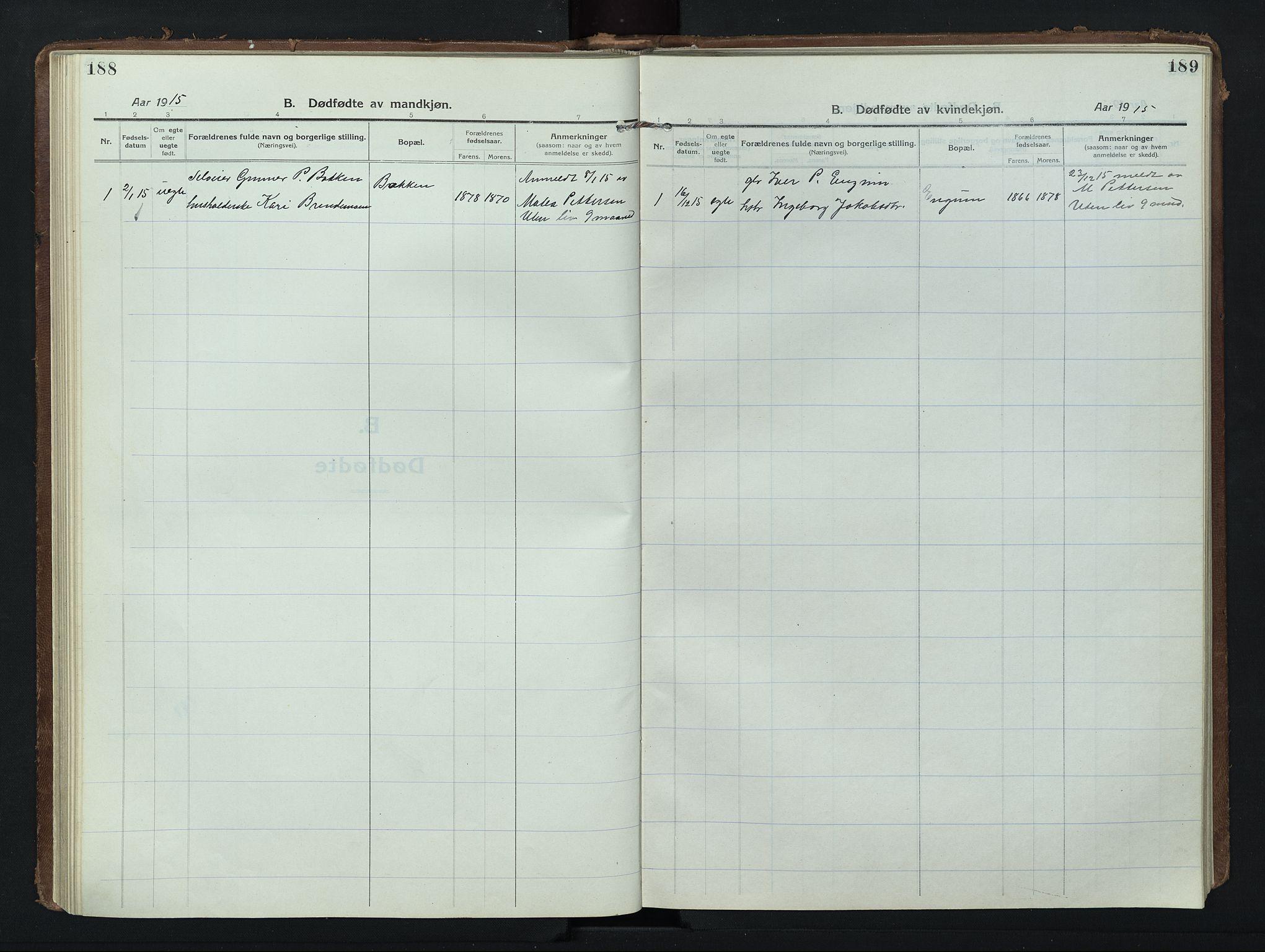 SAH, Nord-Fron prestekontor, Klokkerbok nr. 8, 1915-1948, s. 188-189