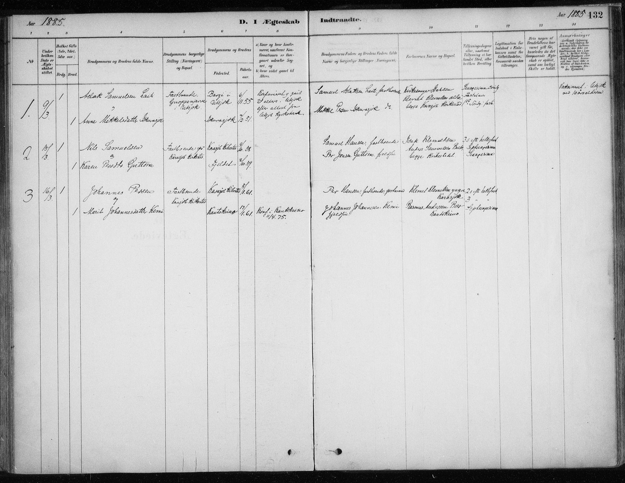 SATØ, Karasjok sokneprestkontor, H/Ha/L0002kirke: Ministerialbok nr. 2, 1885-1906, s. 132