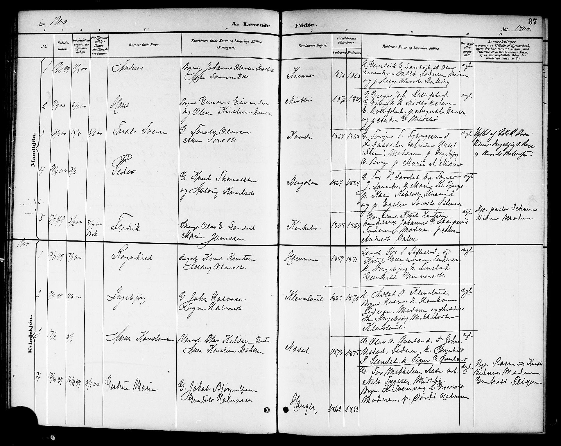 SAKO, Kviteseid kirkebøker, G/Ga/L0002: Klokkerbok nr. I 2, 1893-1918, s. 37