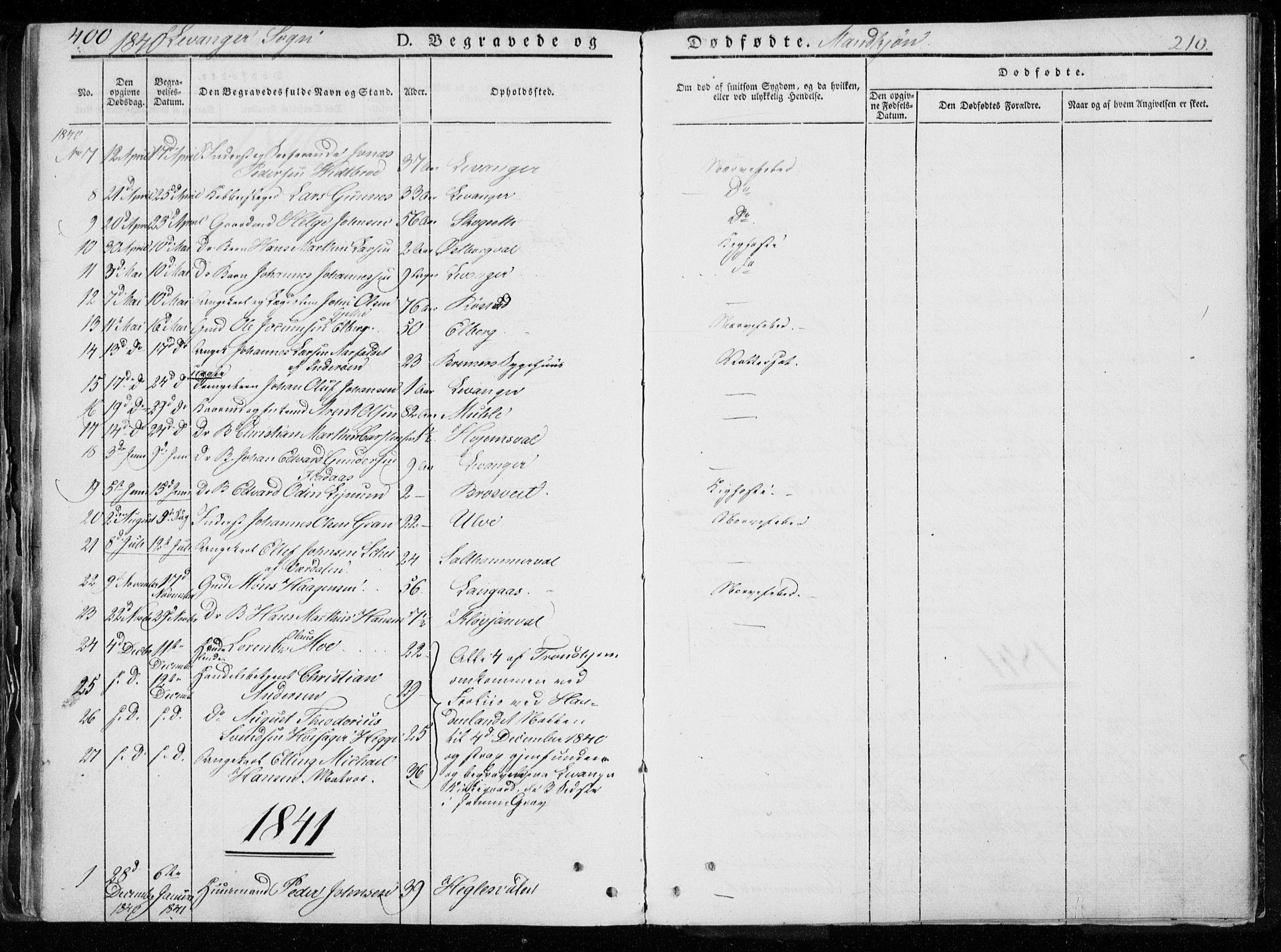 SAT, Ministerialprotokoller, klokkerbøker og fødselsregistre - Nord-Trøndelag, 720/L0183: Ministerialbok nr. 720A01, 1836-1855, s. 210