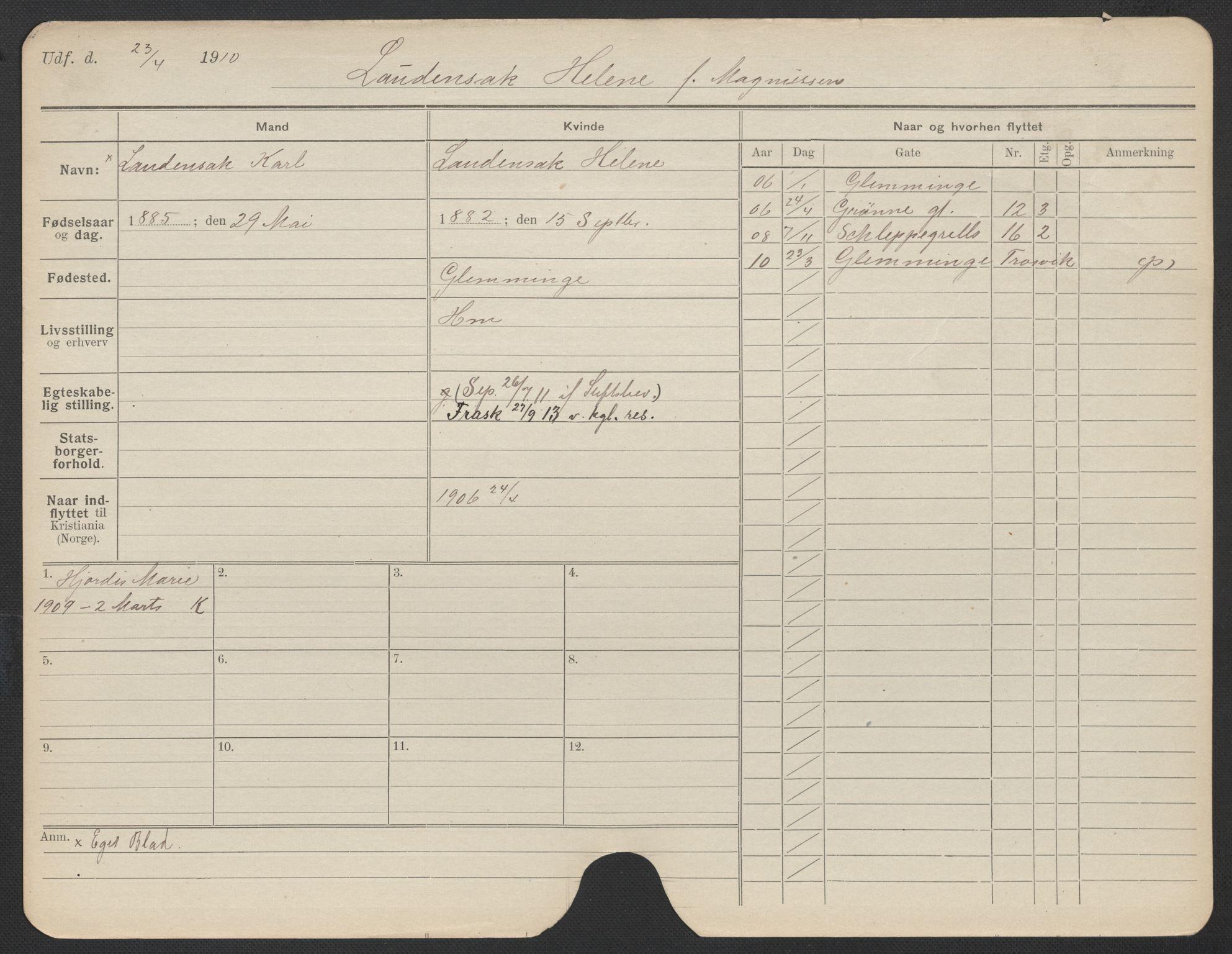 SAO, Oslo folkeregister, Registerkort, F/Fa/Fac/L0019: Kvinner, 1906-1914, s. 1175a