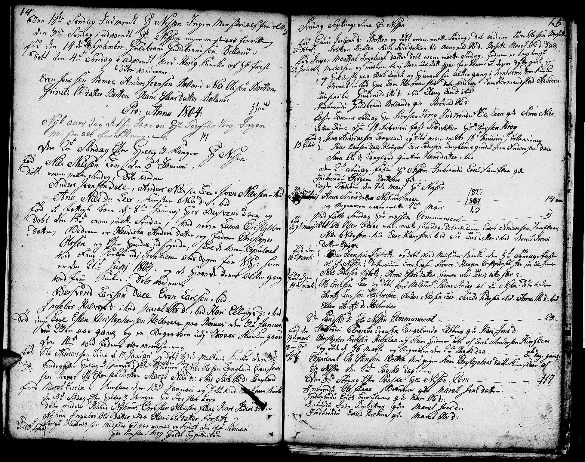 SAT, Ministerialprotokoller, klokkerbøker og fødselsregistre - Sør-Trøndelag, 693/L1120: Klokkerbok nr. 693C01, 1799-1816, s. 14-15
